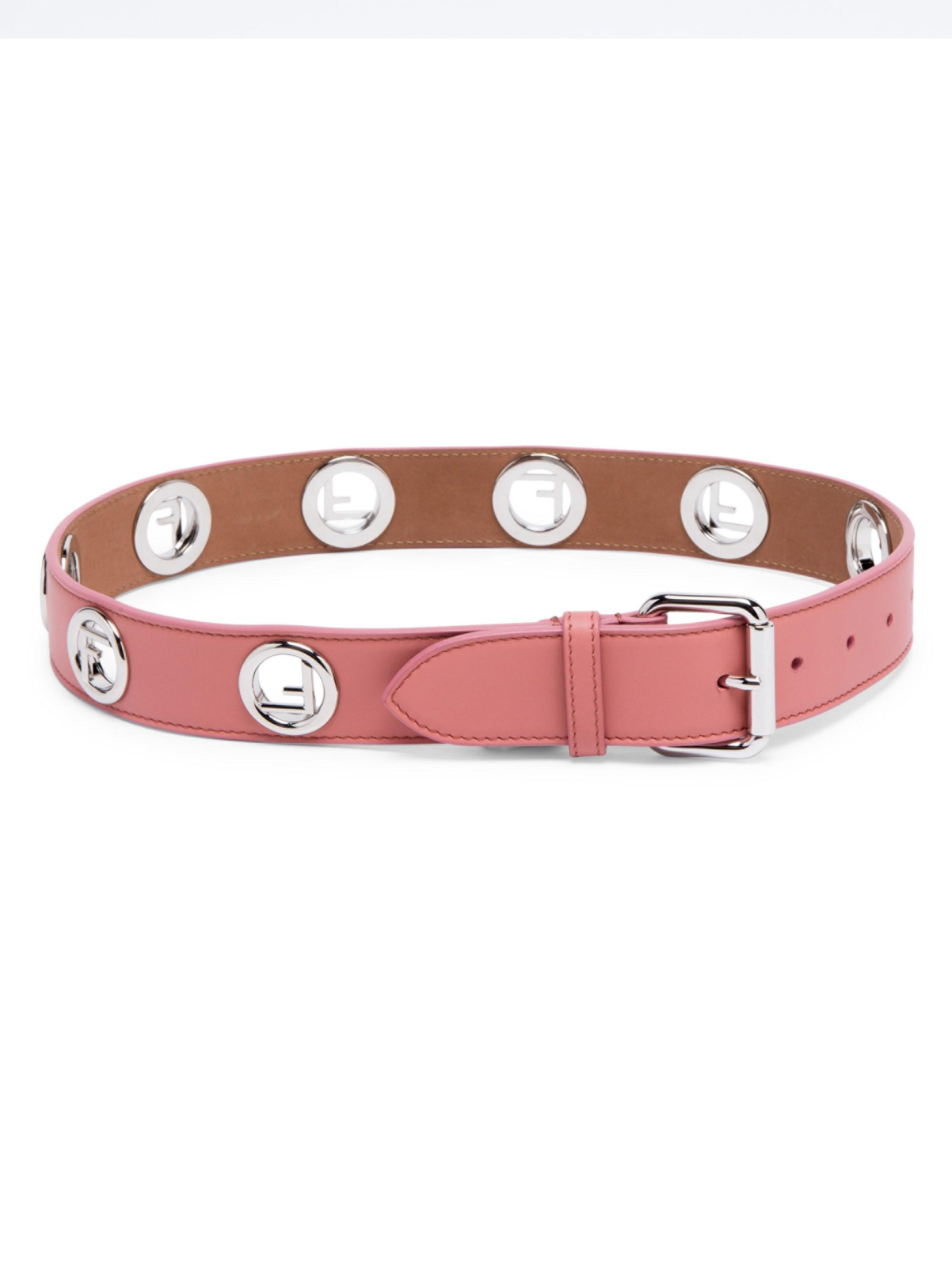 Fendi Women s Silvertone Logo Leather Belt - Pink - Size Large (36 ... afad1e7e068b