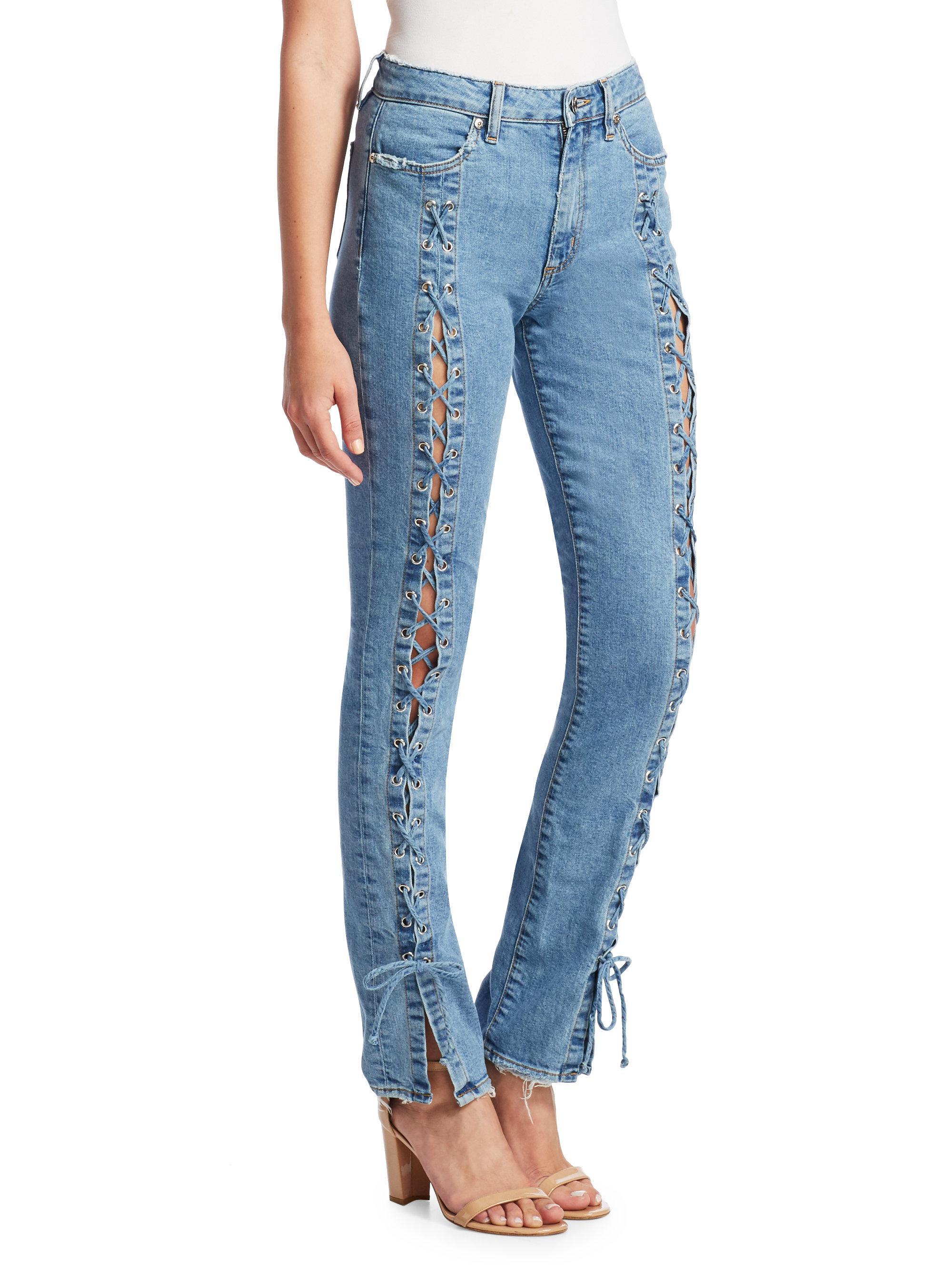 5ff3a0ba92c Lyst - Jonathan Simkhai Lace-up Denim Jeans in Blue