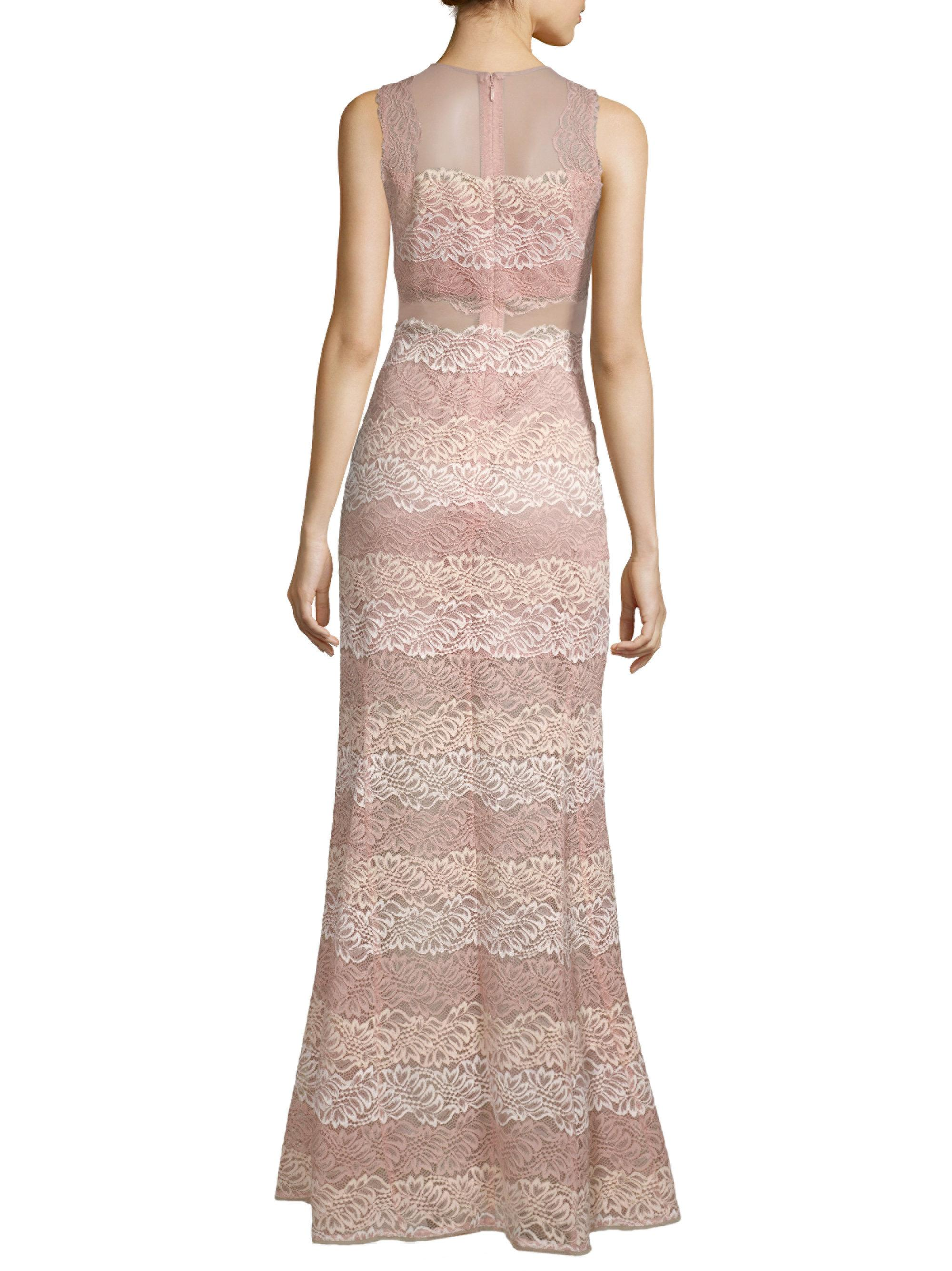 4789bf1a003b Lyst - BCBGMAXAZRIA Striped Lace Trumpet Gown in Pink