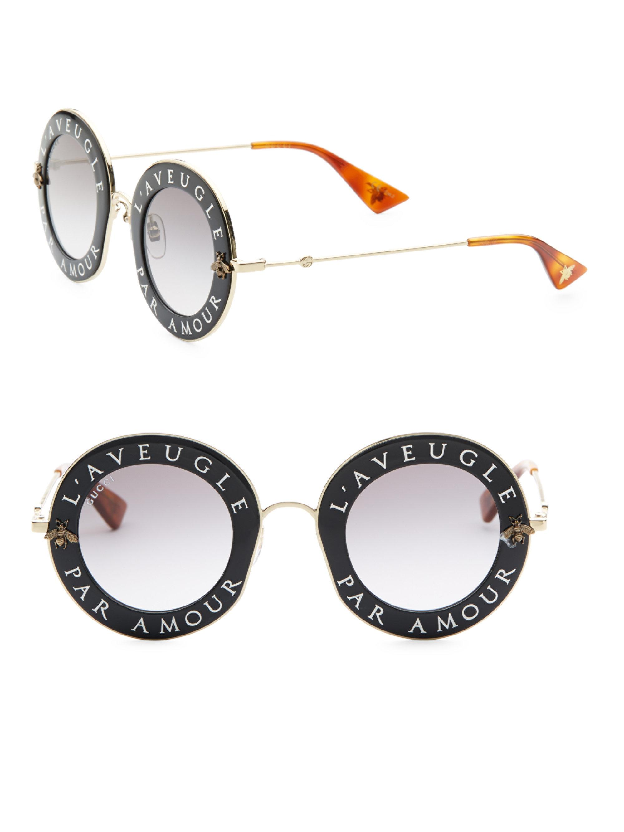 354296dd8290 Lyst - Gucci 44mm L aveugle Par Amour Round Sunglasses in Black