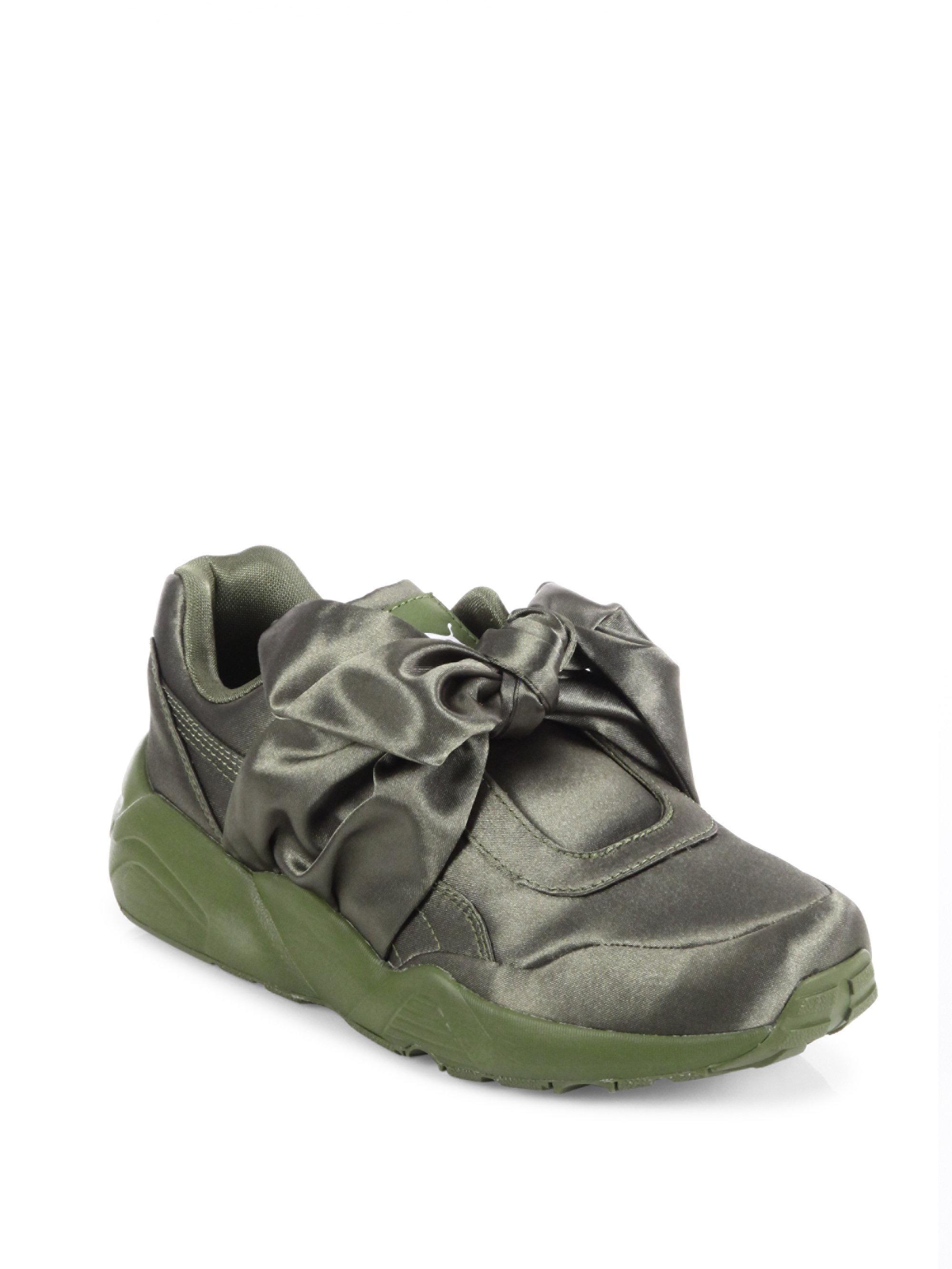 buy cheap ec095 94fb3 PUMA Fenty X Rihanna Satin Bow Sneakers in Green - Lyst