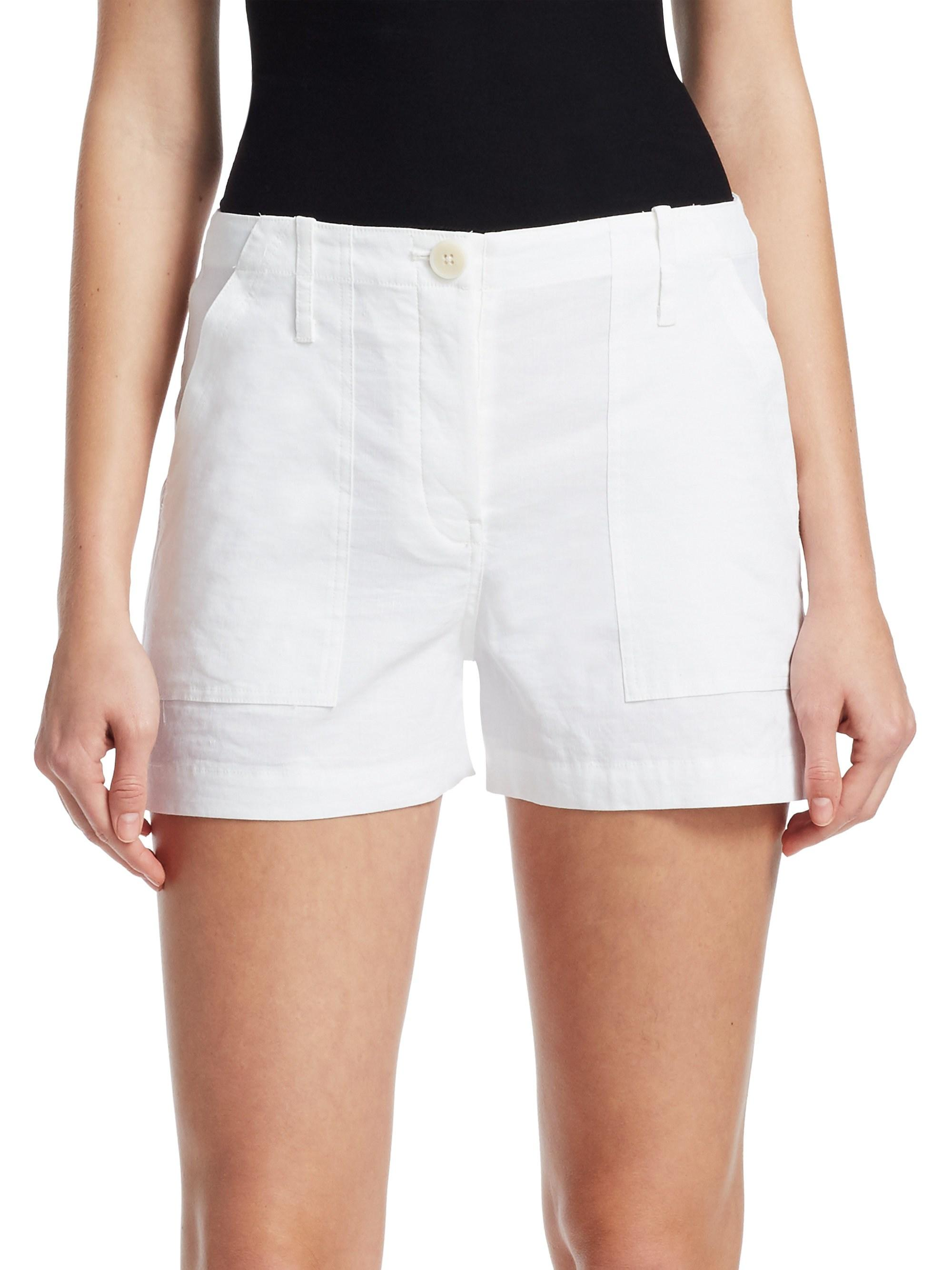 c487660ca2 Theory Linen-blend Cargo Shorts in White - Lyst