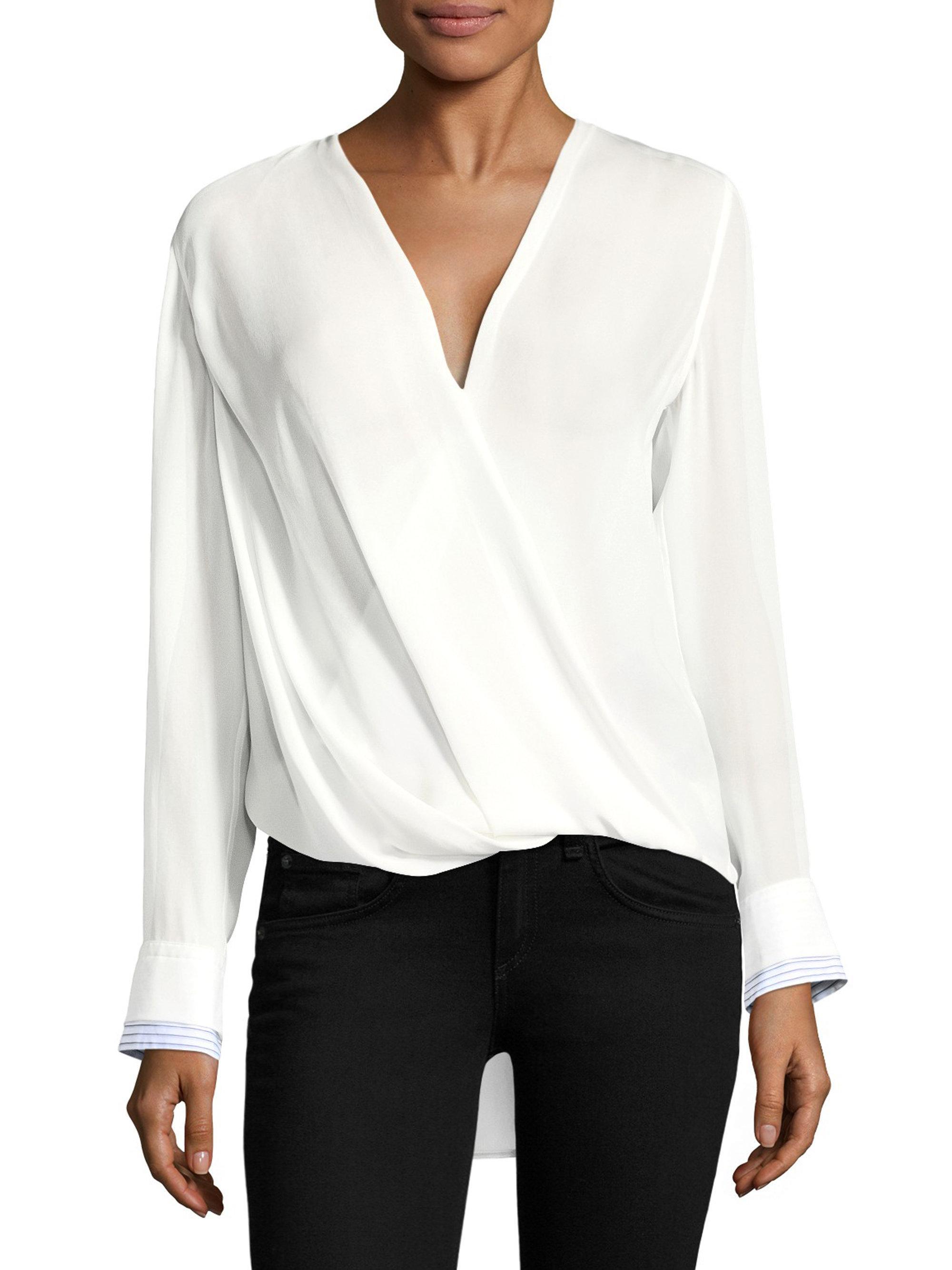 817d828108502 Lyst - Rag   Bone Victor V-neck Silk Blouse in White