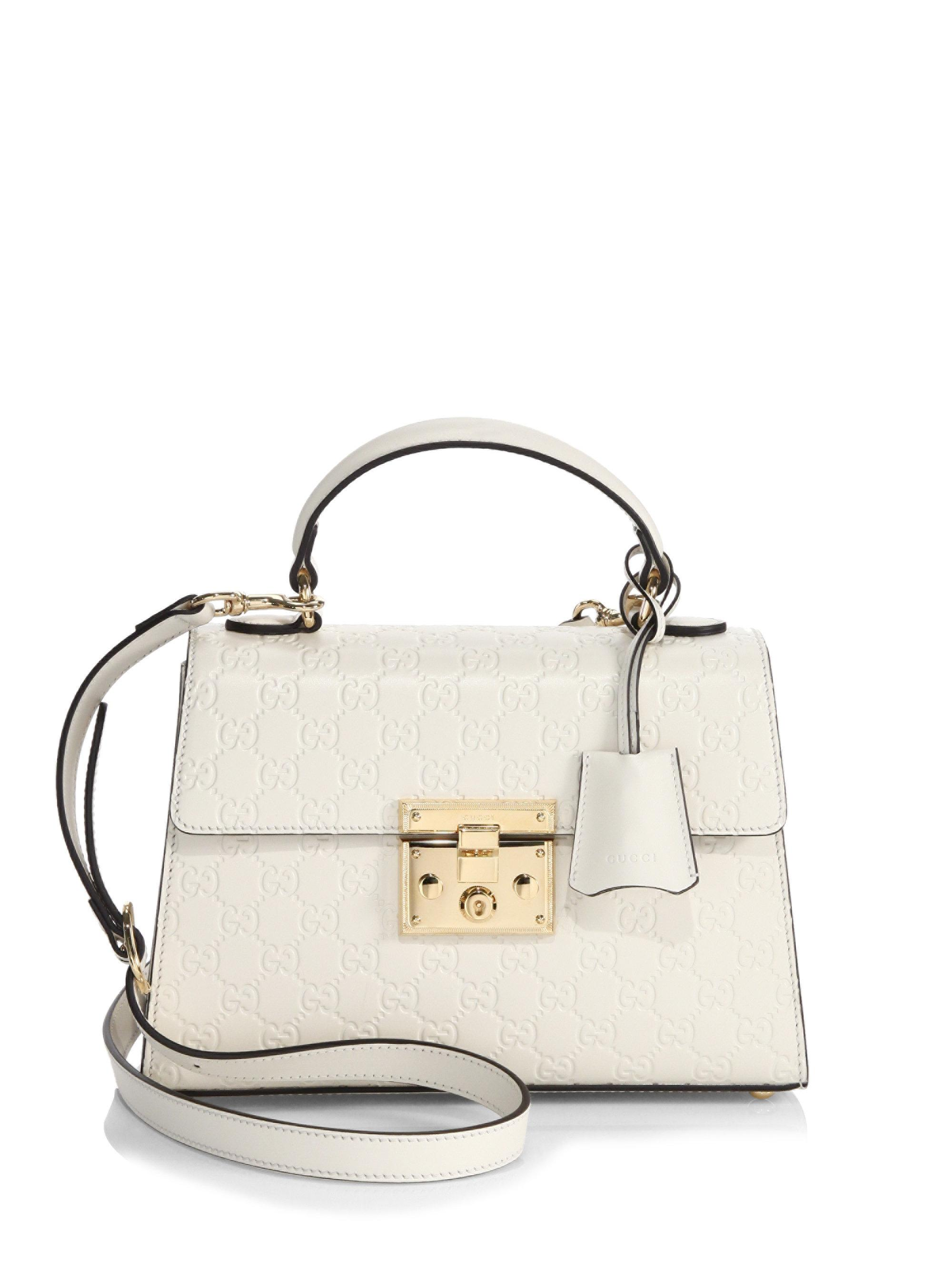 02d94eb988af57 Gucci Padlock Small Gg Leather Top-handle Bag in White - Lyst