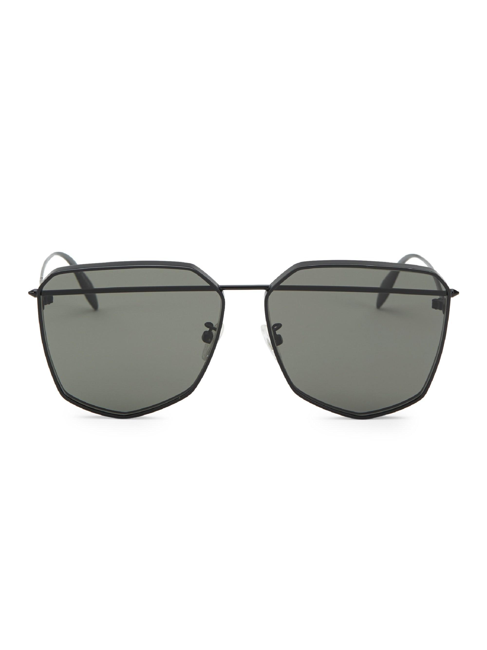 5f813721a85a Lyst - Alexander McQueen Men s 61mm Black Geometric Sunglasses ...
