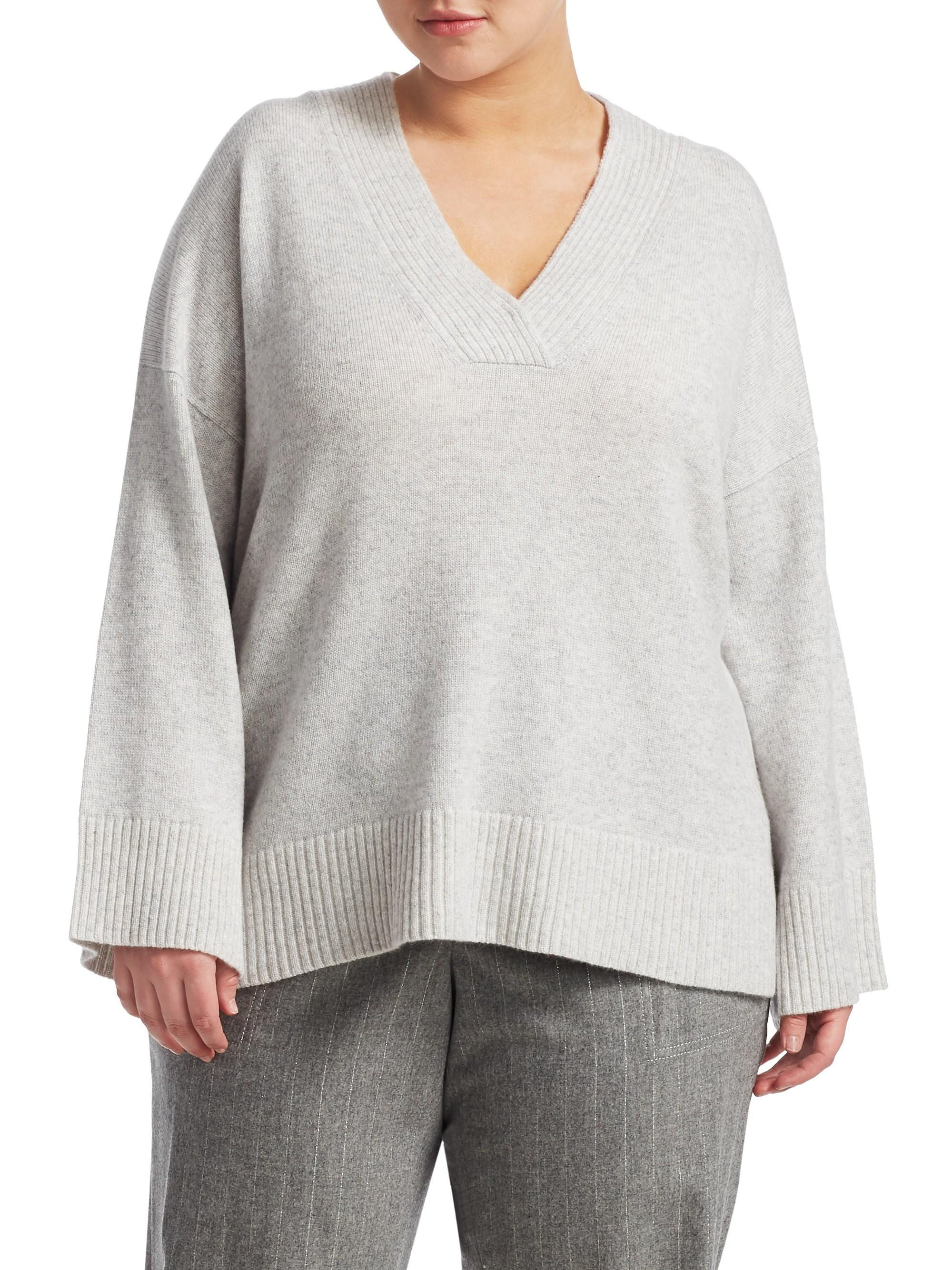 In Gray Sweater 148 Vanise Neck V York New Cashmere Lafayette Lyst XuZTPilOwk
