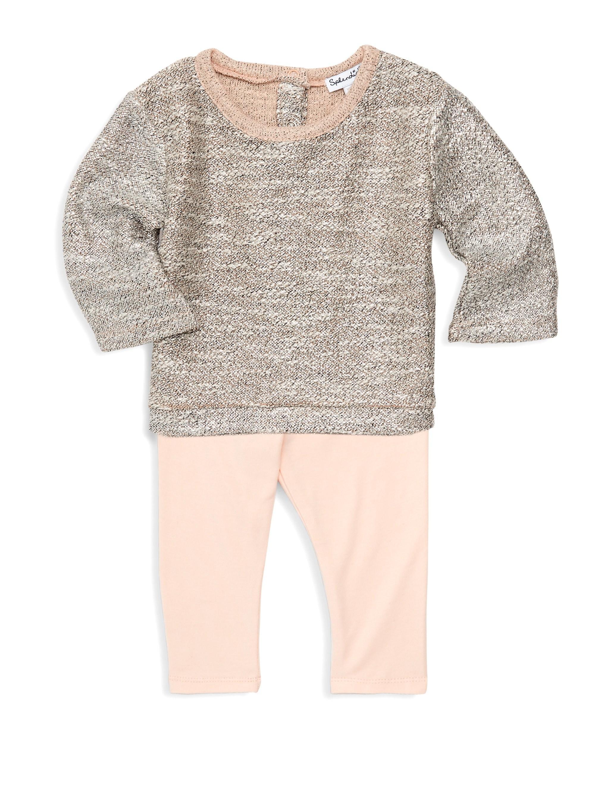 1ab5d627d61 Lyst - Splendid Baby Girl s Two-piece Lurex Sweater   Leggings Set