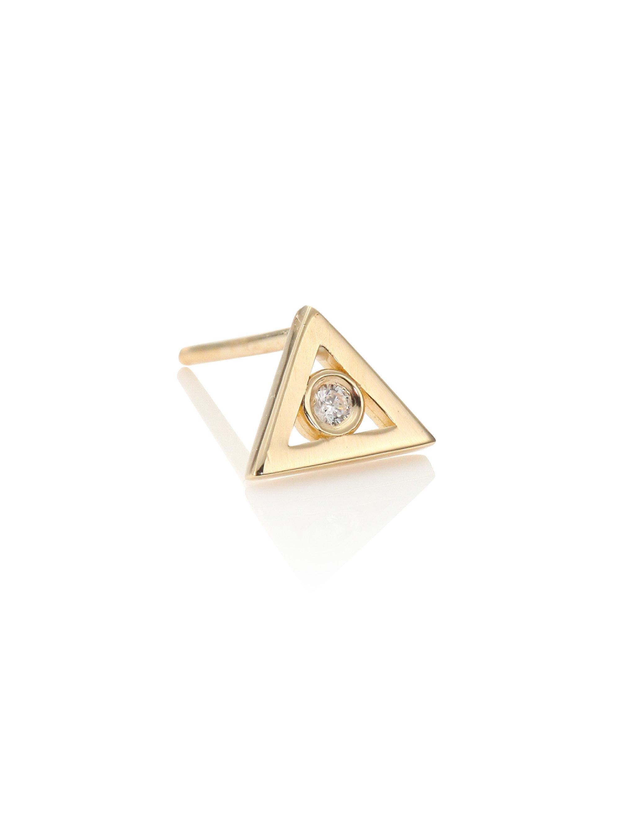 Sydney Evan 14K Gold Triangle Stud Earring with Diamonds YrsB64Wz7