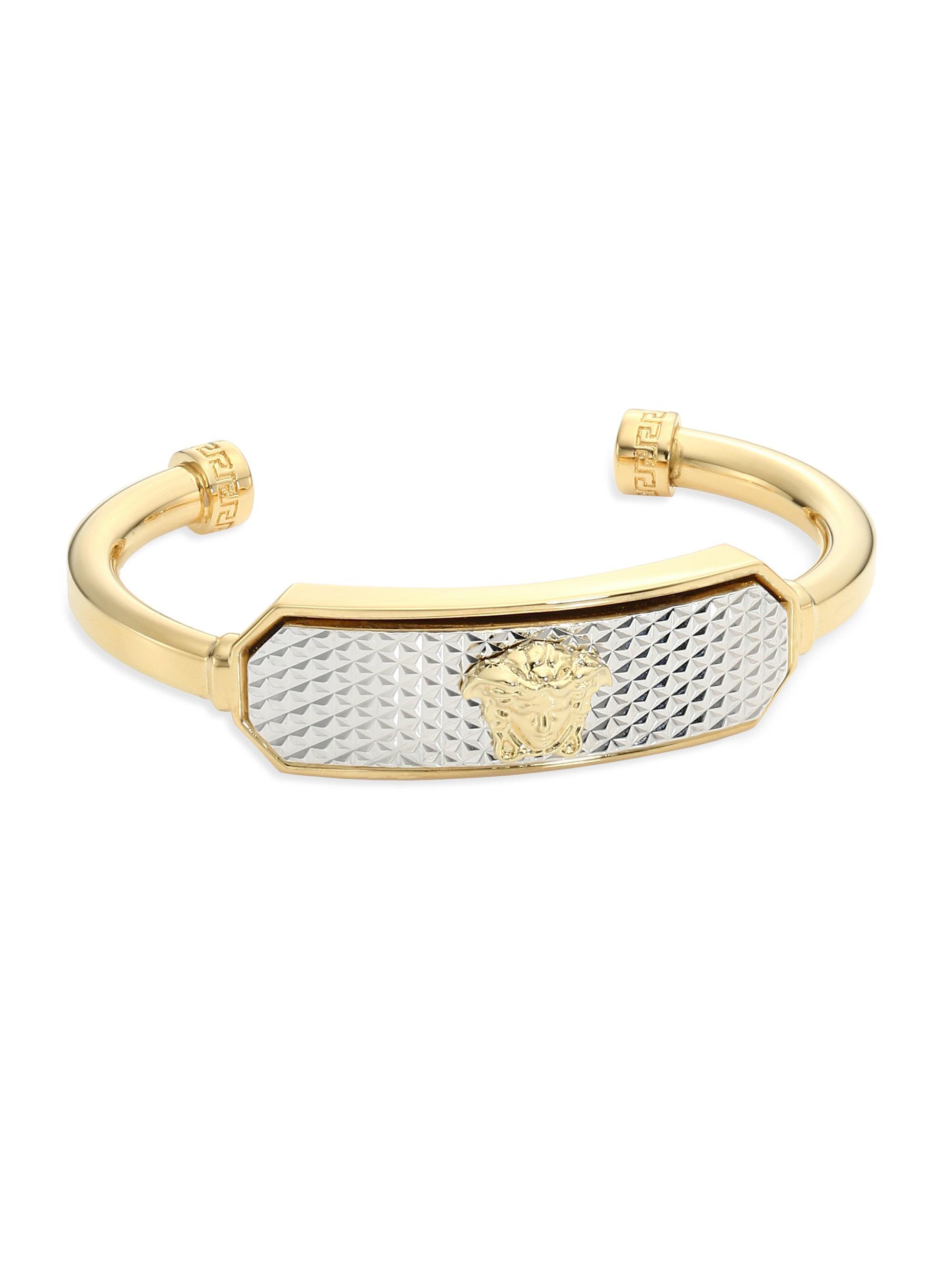 Versace Logo Bracelet in Gold Metal PQnDI