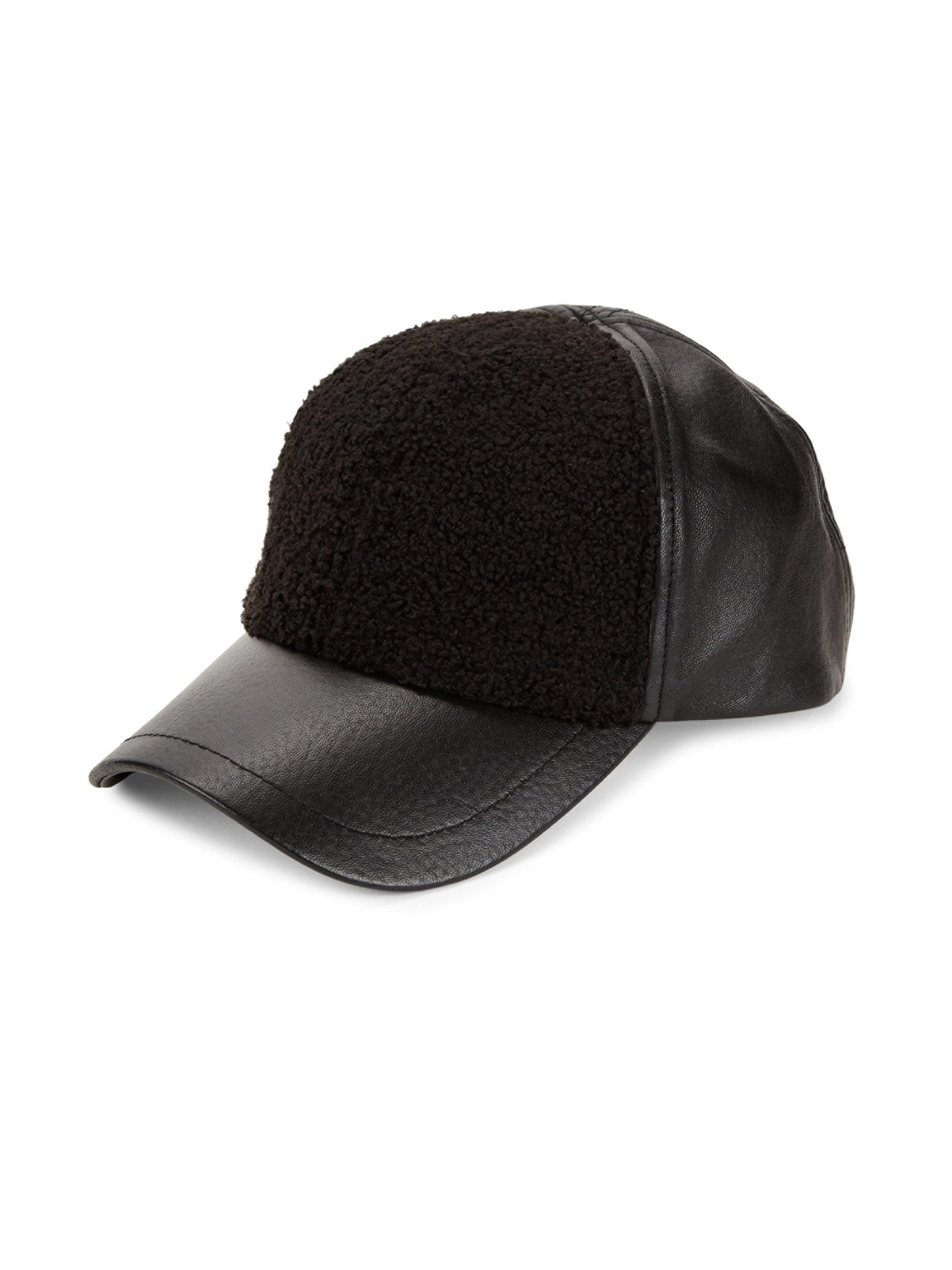 UGG Men s Faux Sherpa   Leather Baseball Cap - Black in Black for ... 3234f0f04996