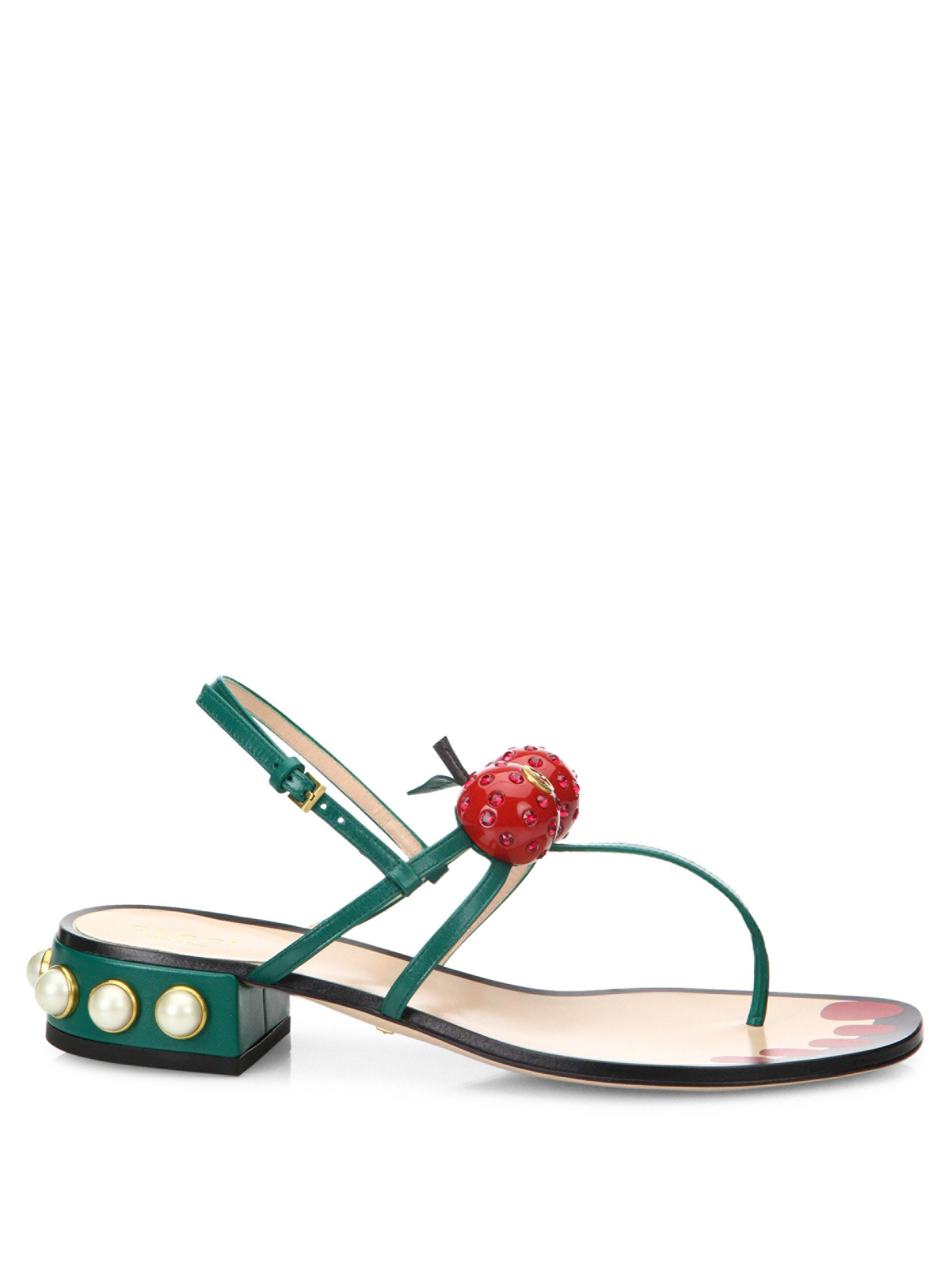 d0603a363c52 Gucci Hatsumomo Cherry Leather Thong Sandal - Lyst