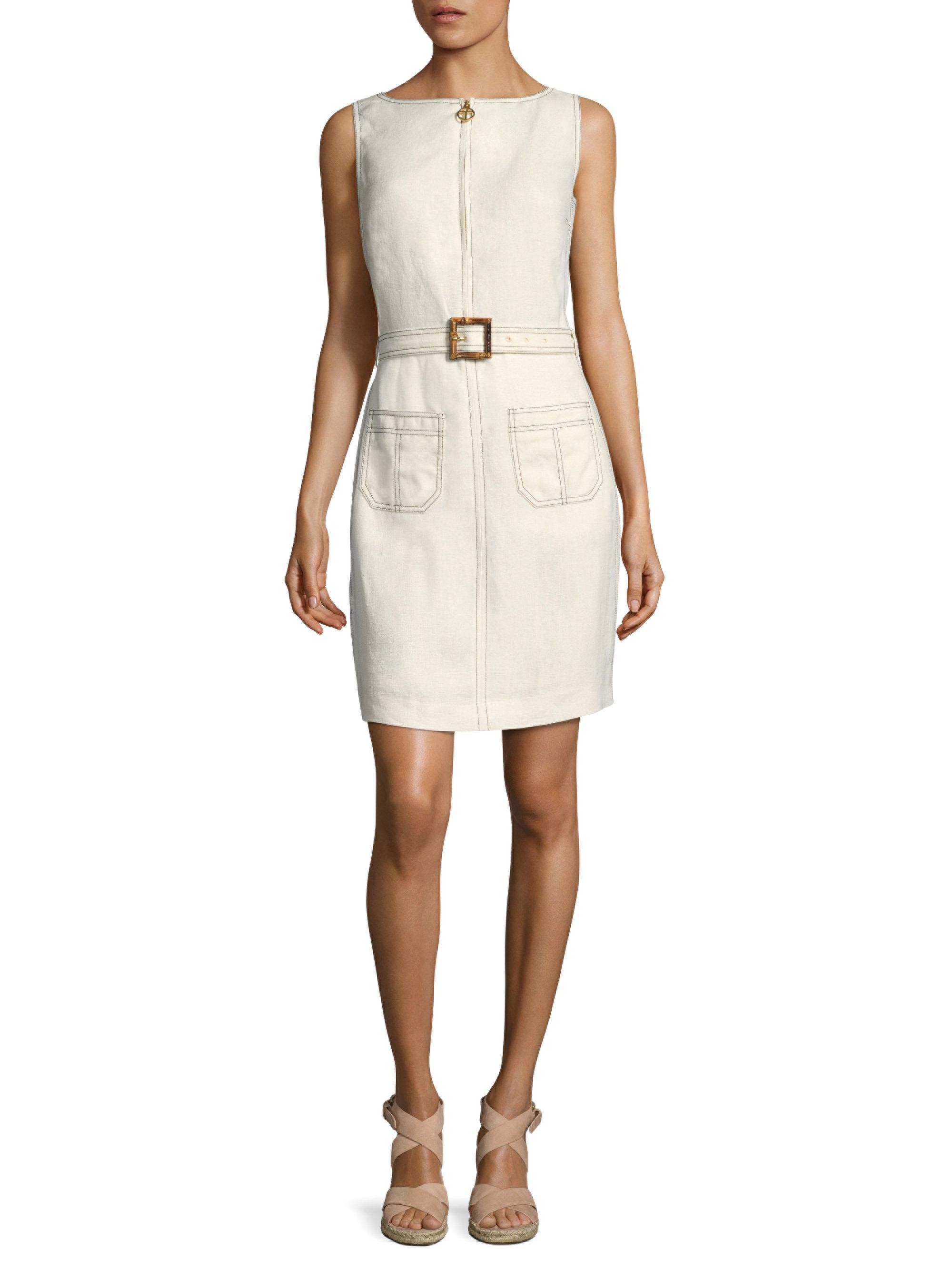 fd172636e3f Tory Burch Nadia Linen Dress in White - Lyst