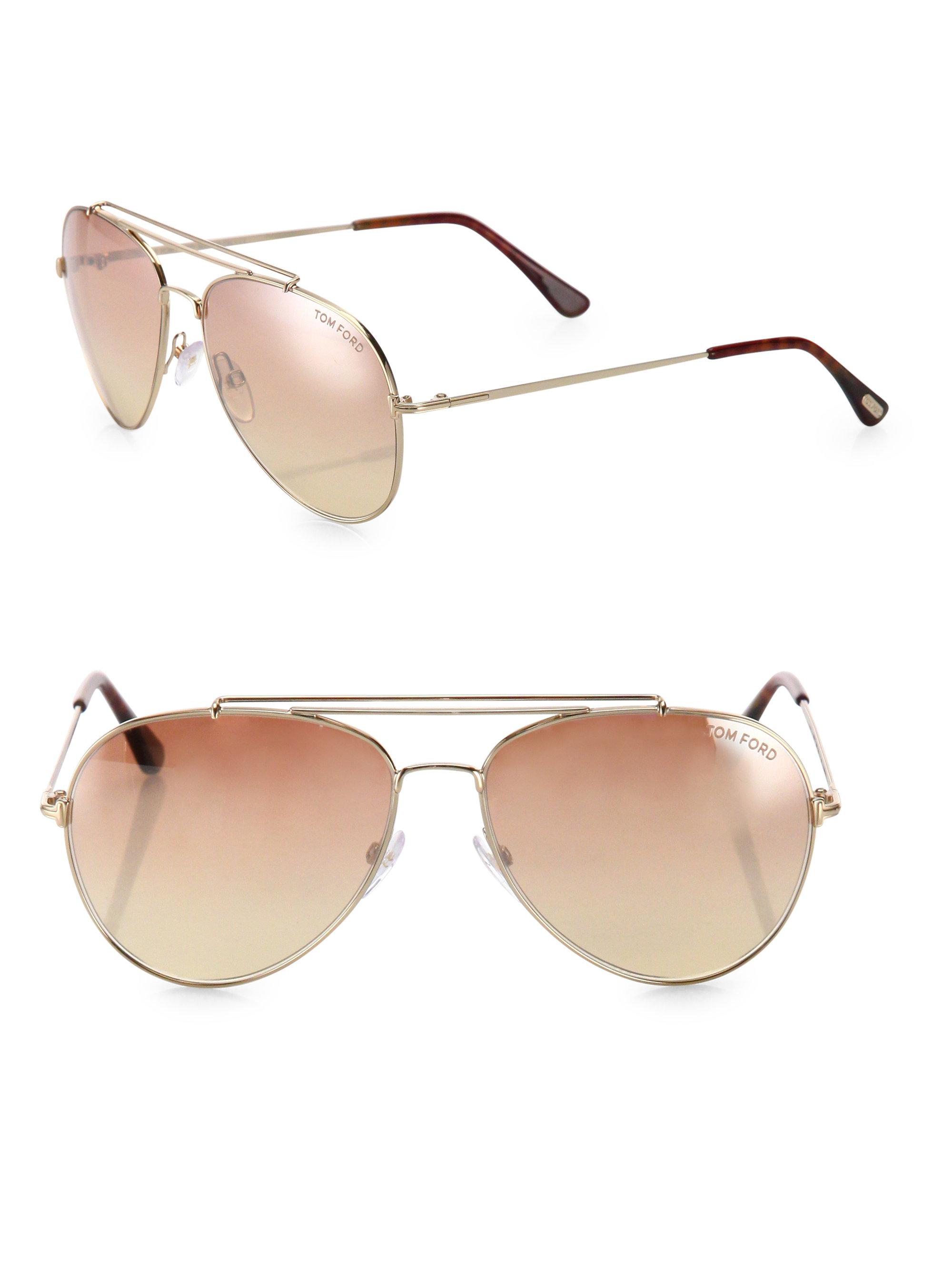 2937f89eff8 Tom Ford - Metallic Women s Indiana 58mm Mirrored Aviator Sunglasses - Gold  - Lyst. View fullscreen