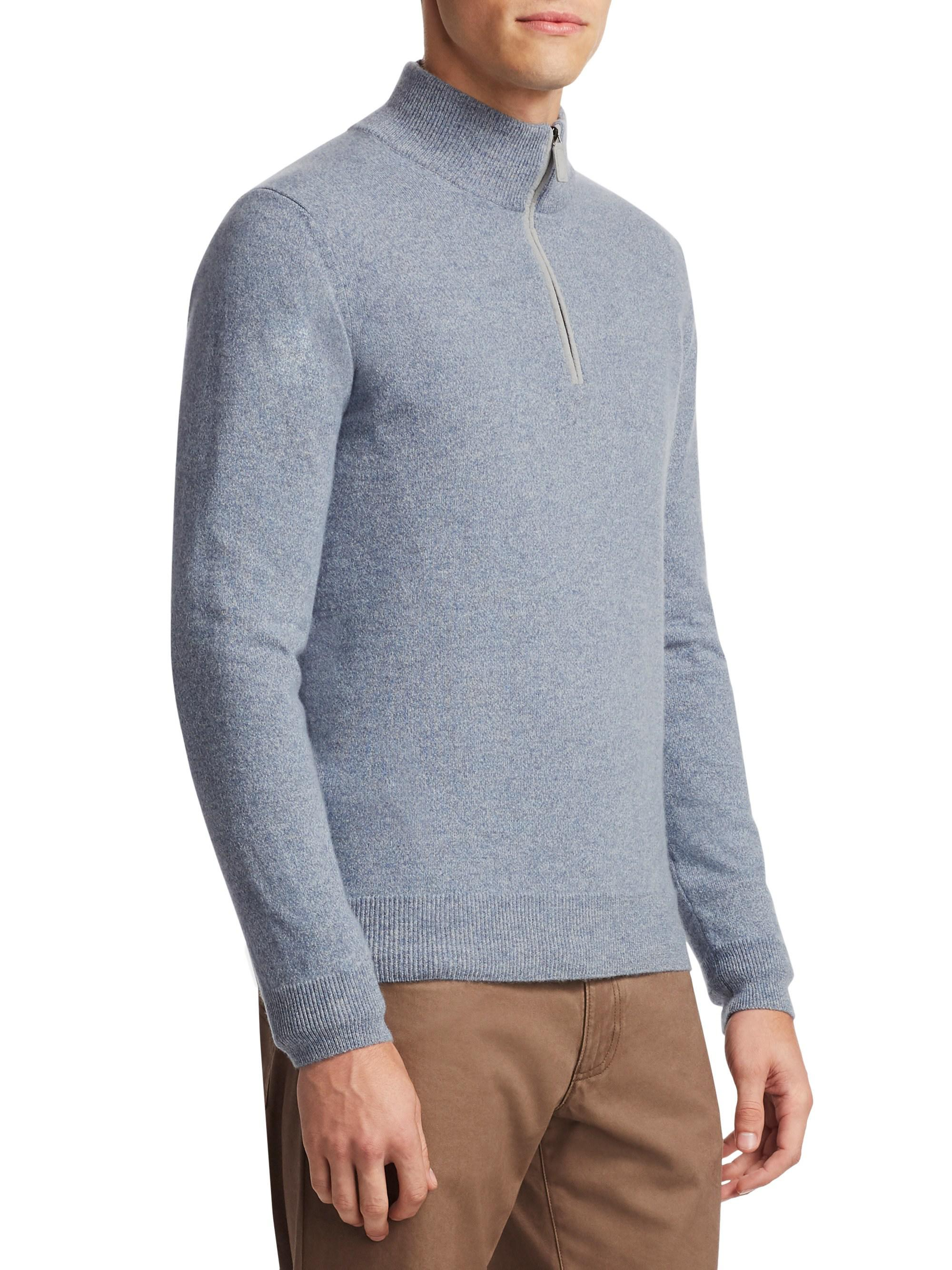 7eaafac78 Lyst - Saks Fifth Avenue Collection Half-zip Cashmere Sweater in ...