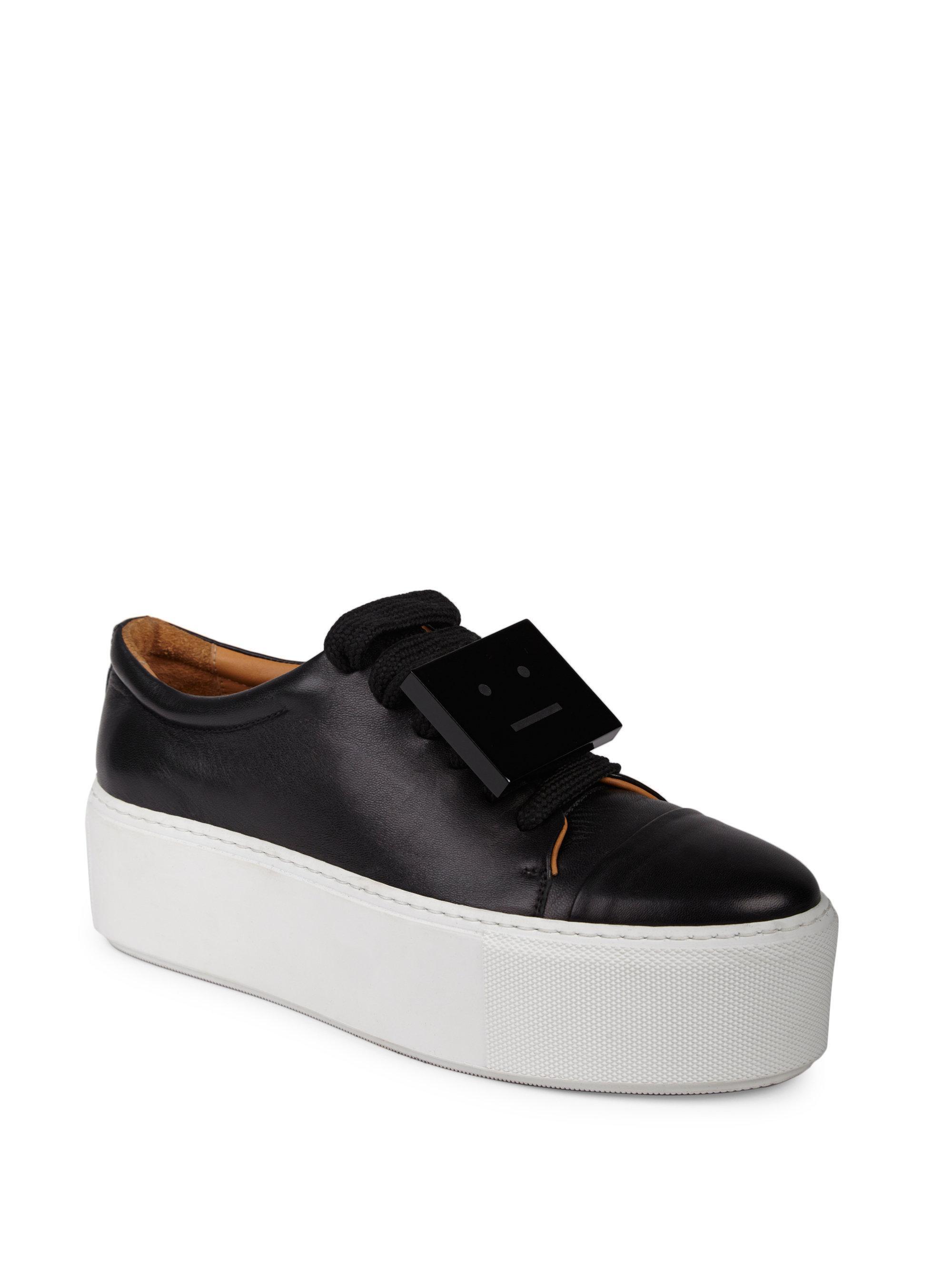 Acne Studios Black Leather Platform Sneakers bKhw1dB4aO