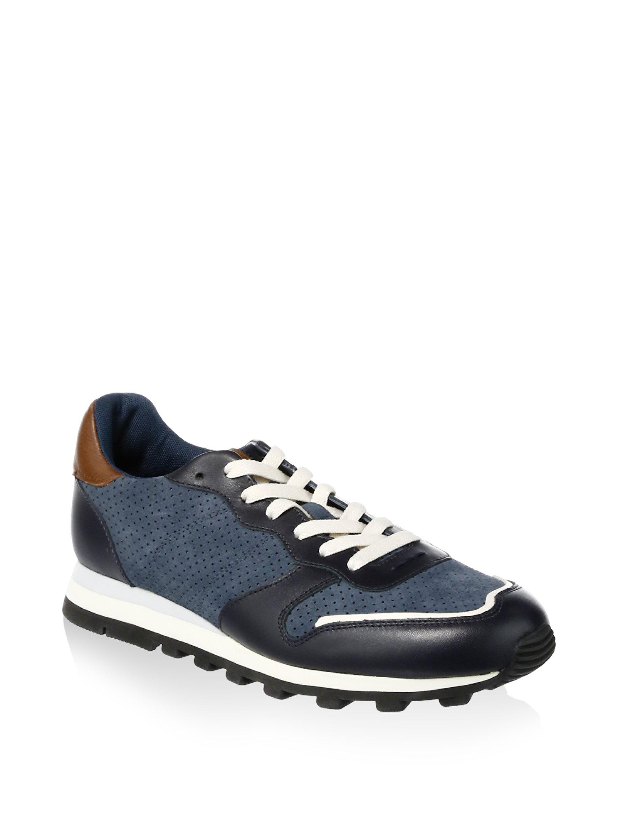 Coach Perforated Leather Trim Running Sneakers hKLv2vx