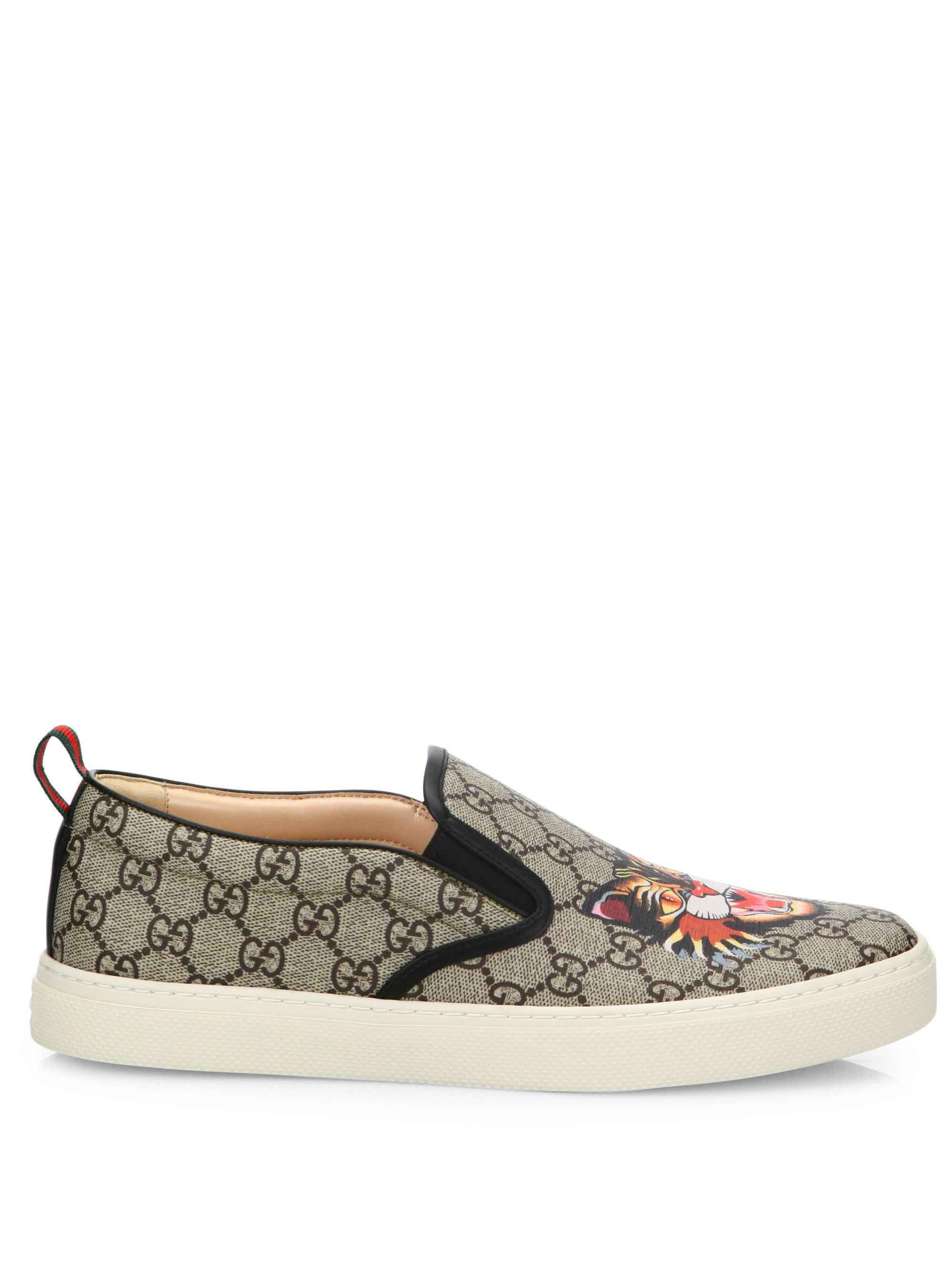 f72291707f9 Lyst - Gucci GG Supreme Angry Cat Slip-on Sneakers in Natural for Men