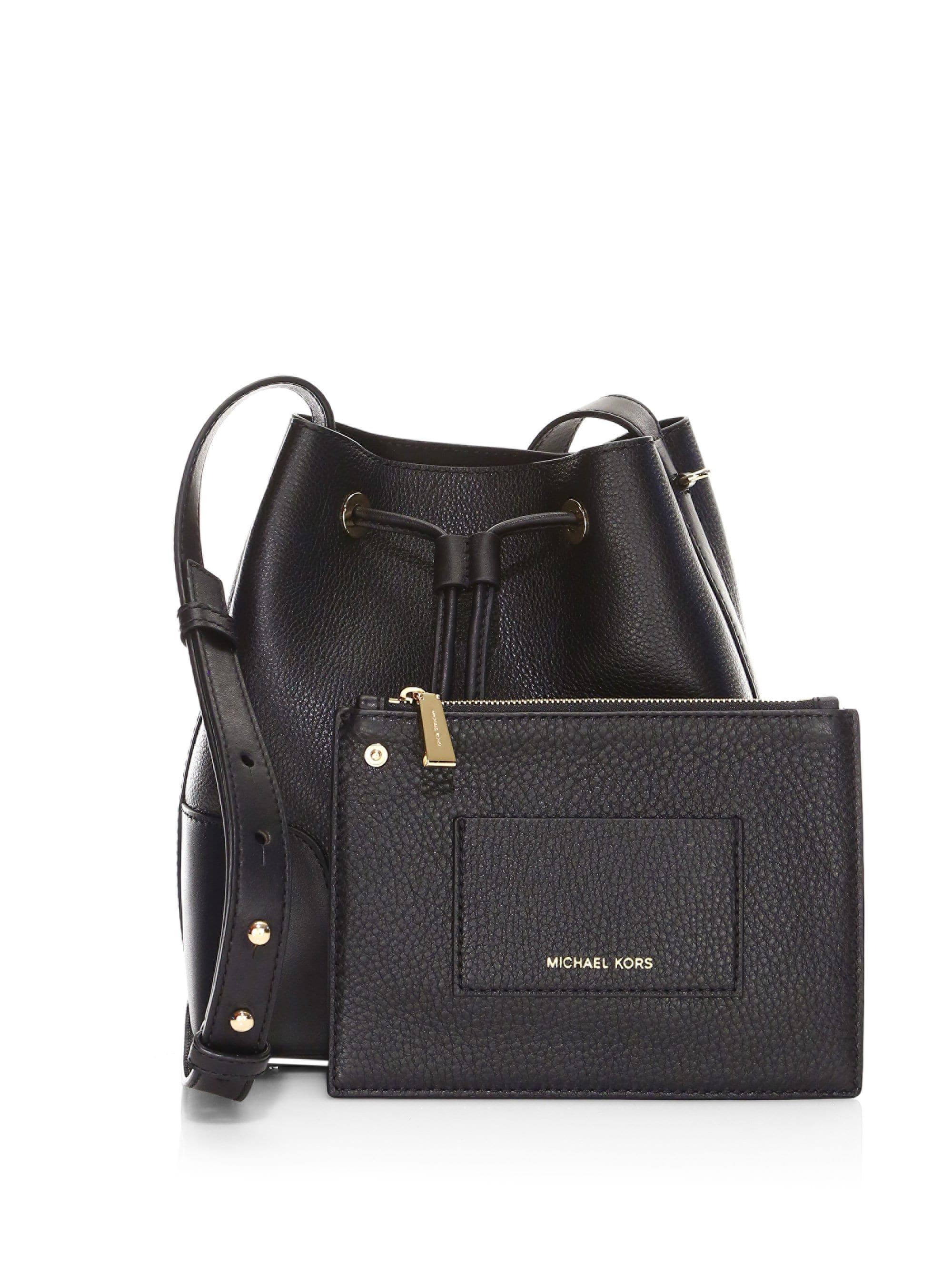 e224bc74c265 MICHAEL Michael Kors Woman Cary Pebbled-leather Bucket Bag Black in ...