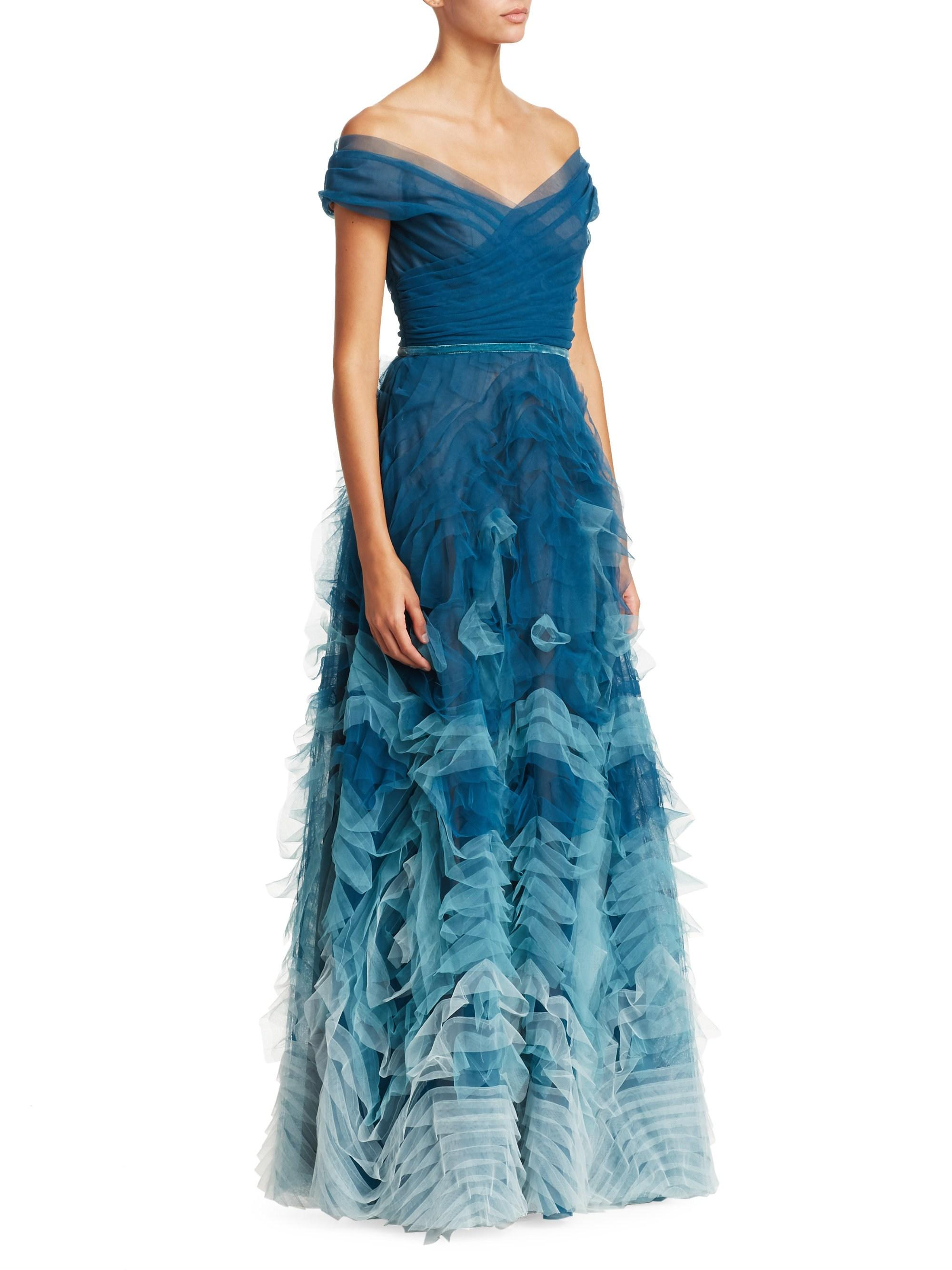 8d230a6130 Marchesa notte Off-the-shoulder Ombré Tulle Gown in Blue - Lyst