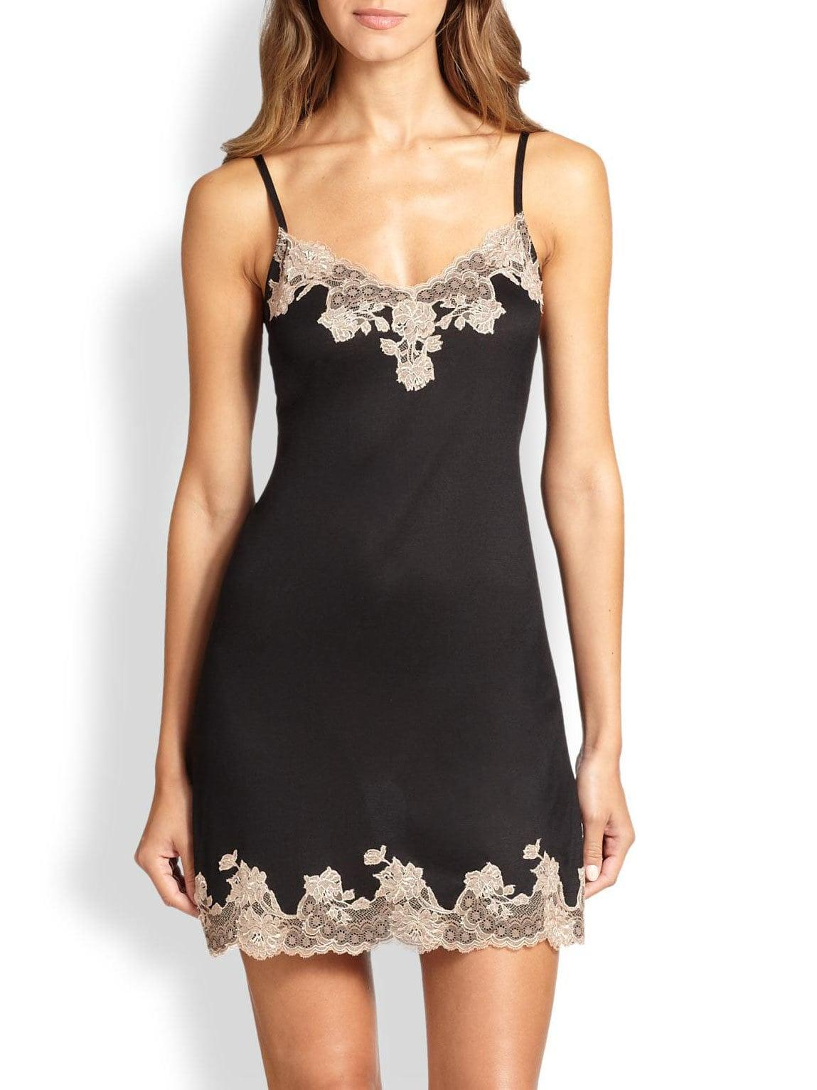 6d7f75ae0d Natori. Women s Josie Charlize Lace Embroidered Chemise - Black ...