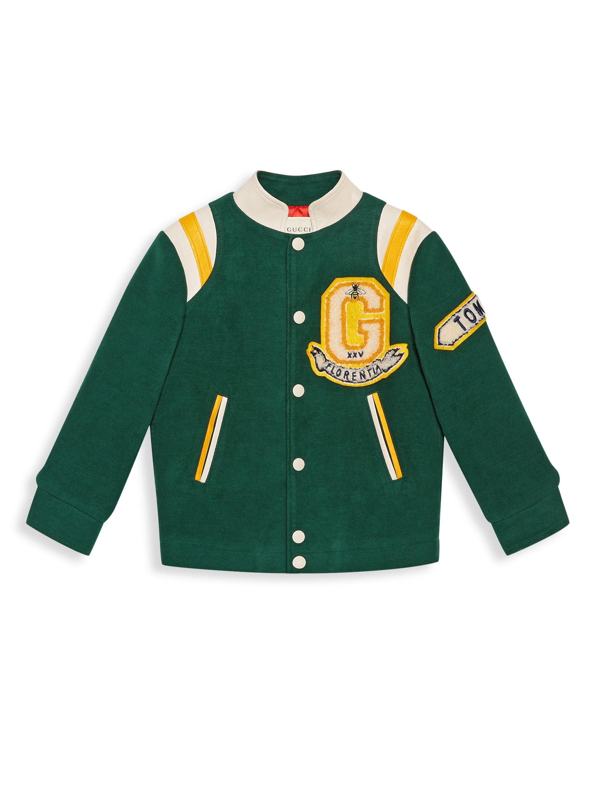 31e25bfafd9e Gucci Boy s Logo Patch Bomber Jacket in Green for Men - Lyst