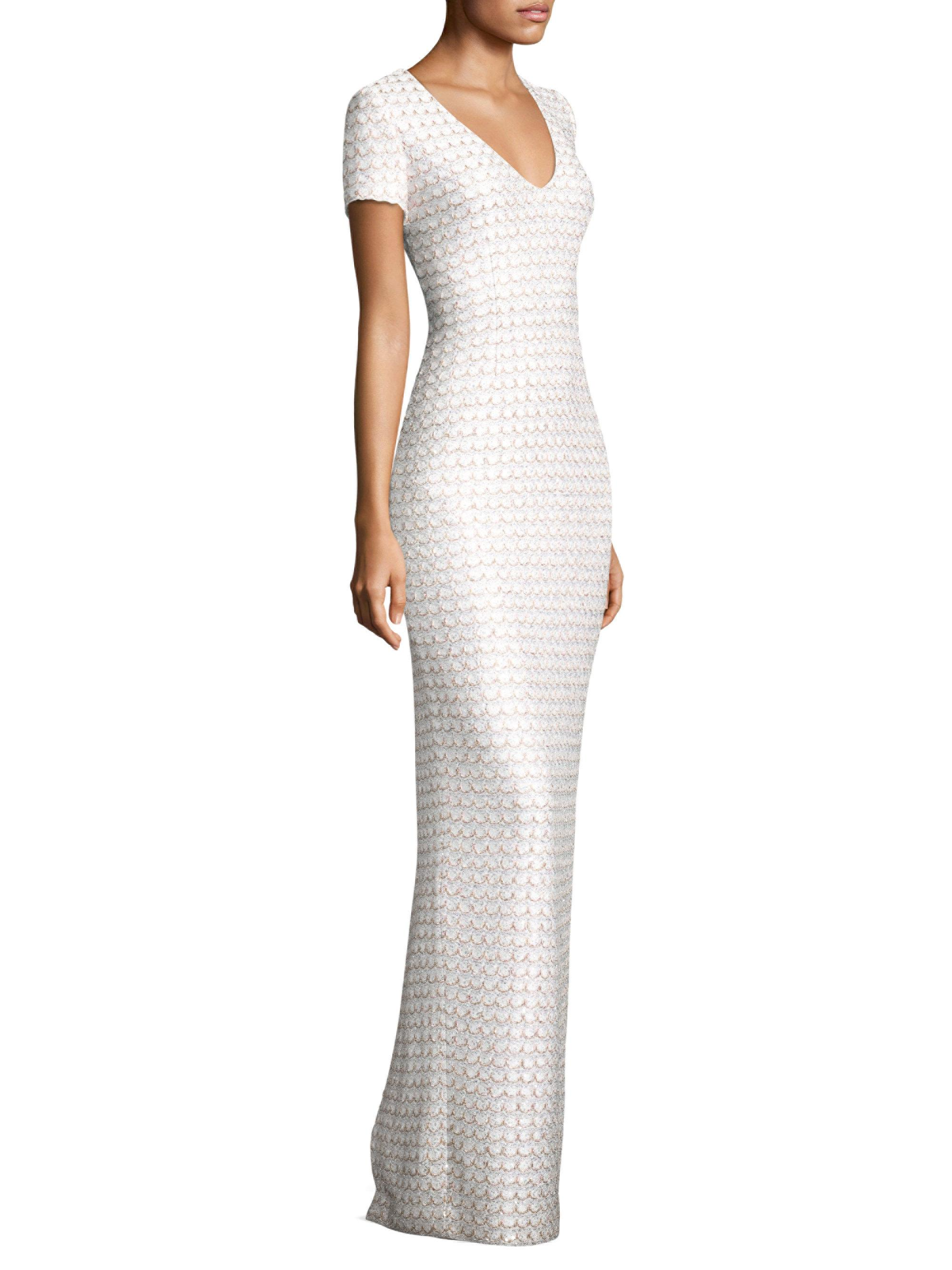 St. John Sequin Scallop Knit Gown in White - Lyst