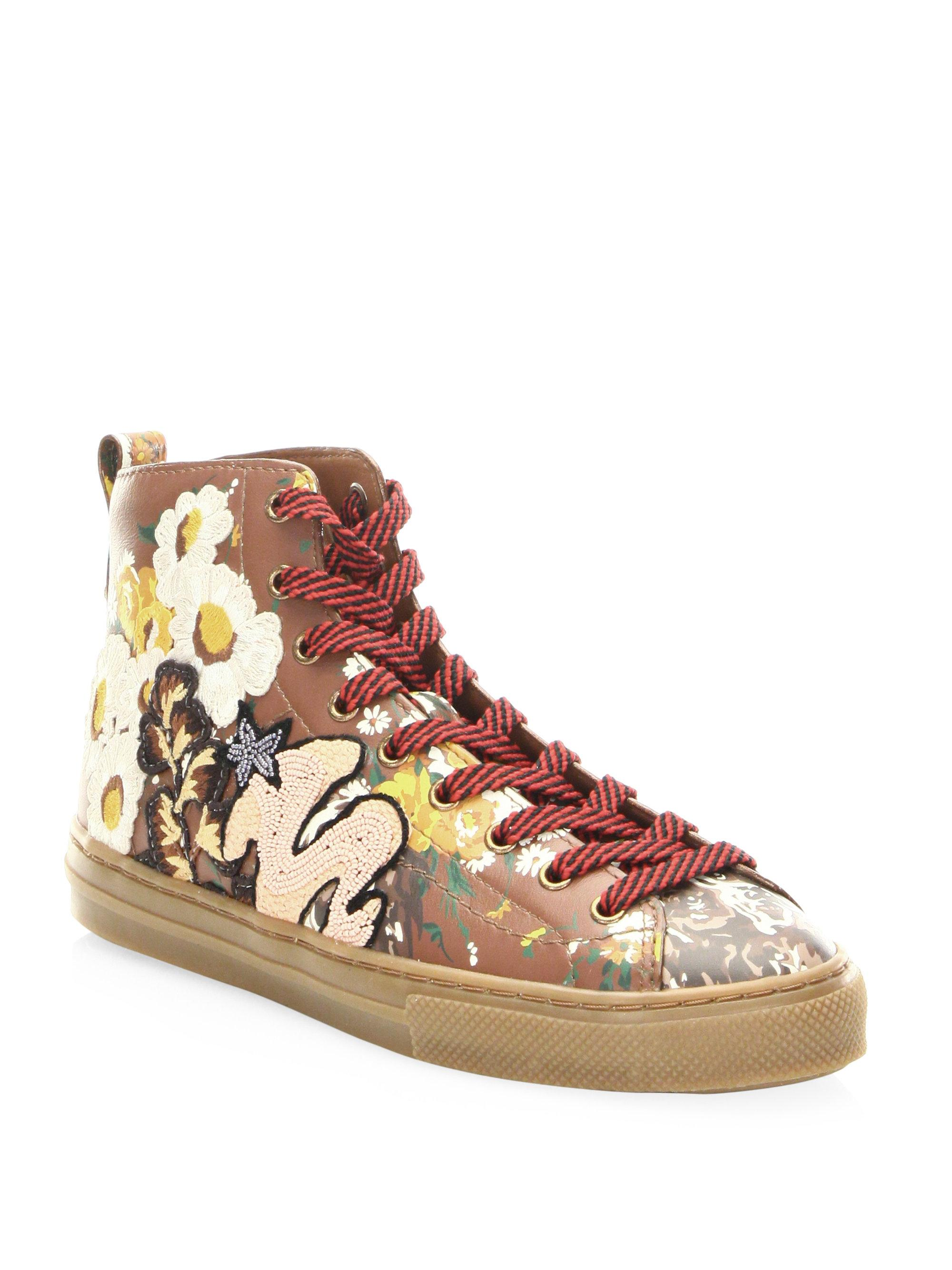 Coach Floral Leather High-Top Sneakers YAxWJbCMHW