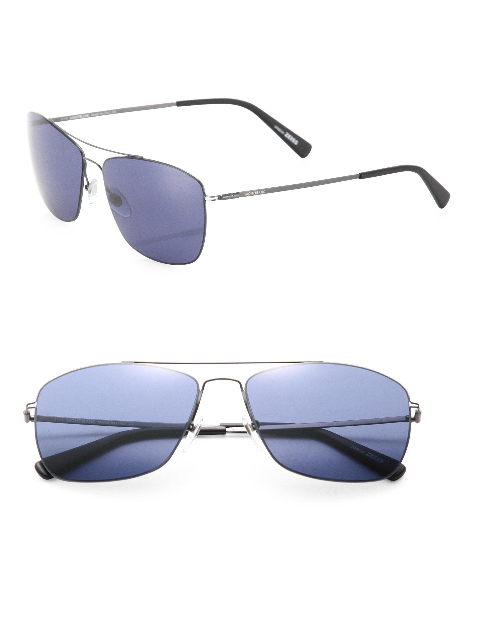d385afbbd6504 Montblanc Thin Frame 59mm Metal Sunglasses in Blue for Men - Lyst