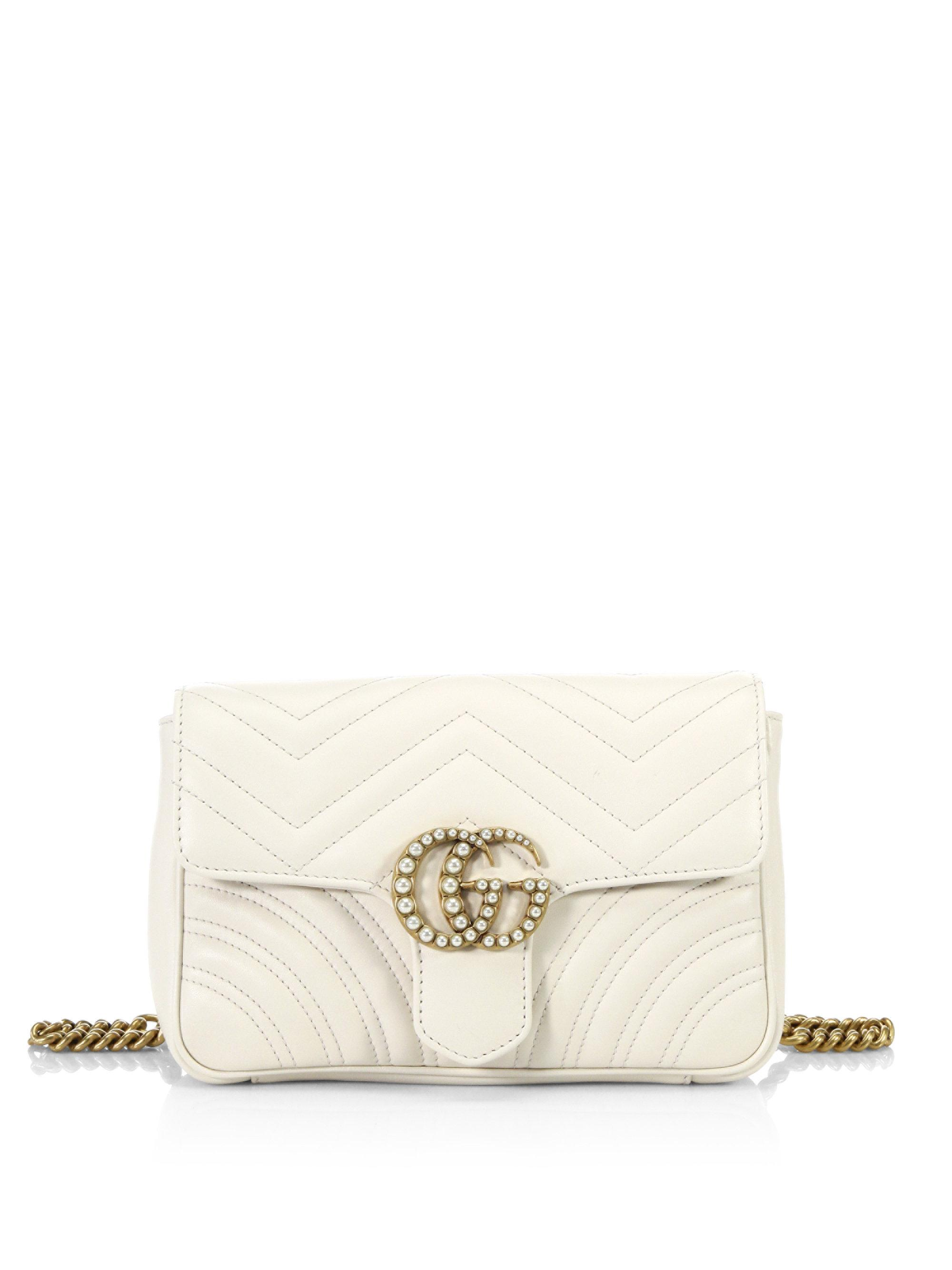 9f28e5462 Gucci Gg Marmont Quilted Leather Chain Belt Bag in White - Lyst