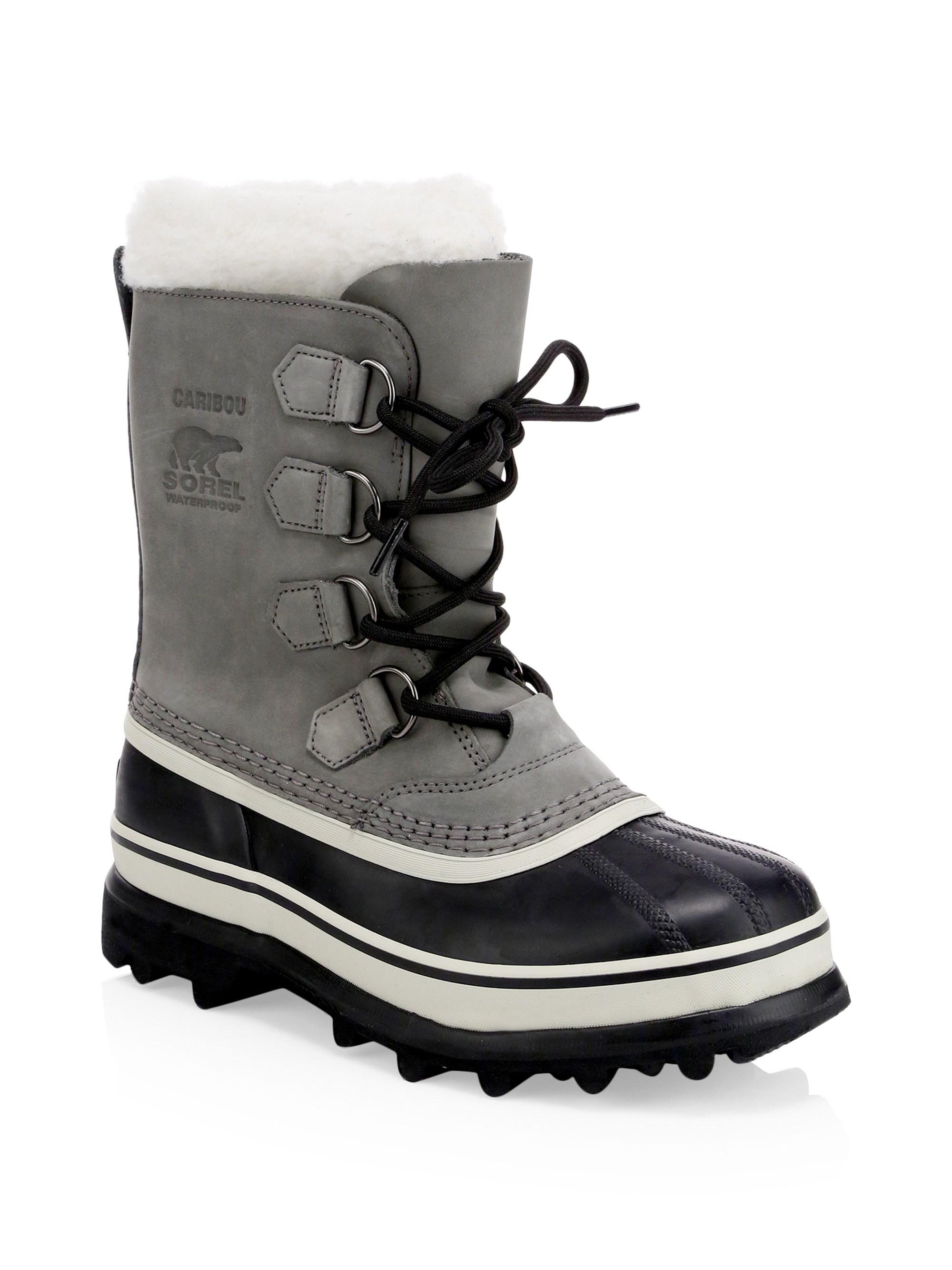 598ae47a232 Lyst - Sorel Women's Caribou Leather & Faux Fur Lace-up Boots ...