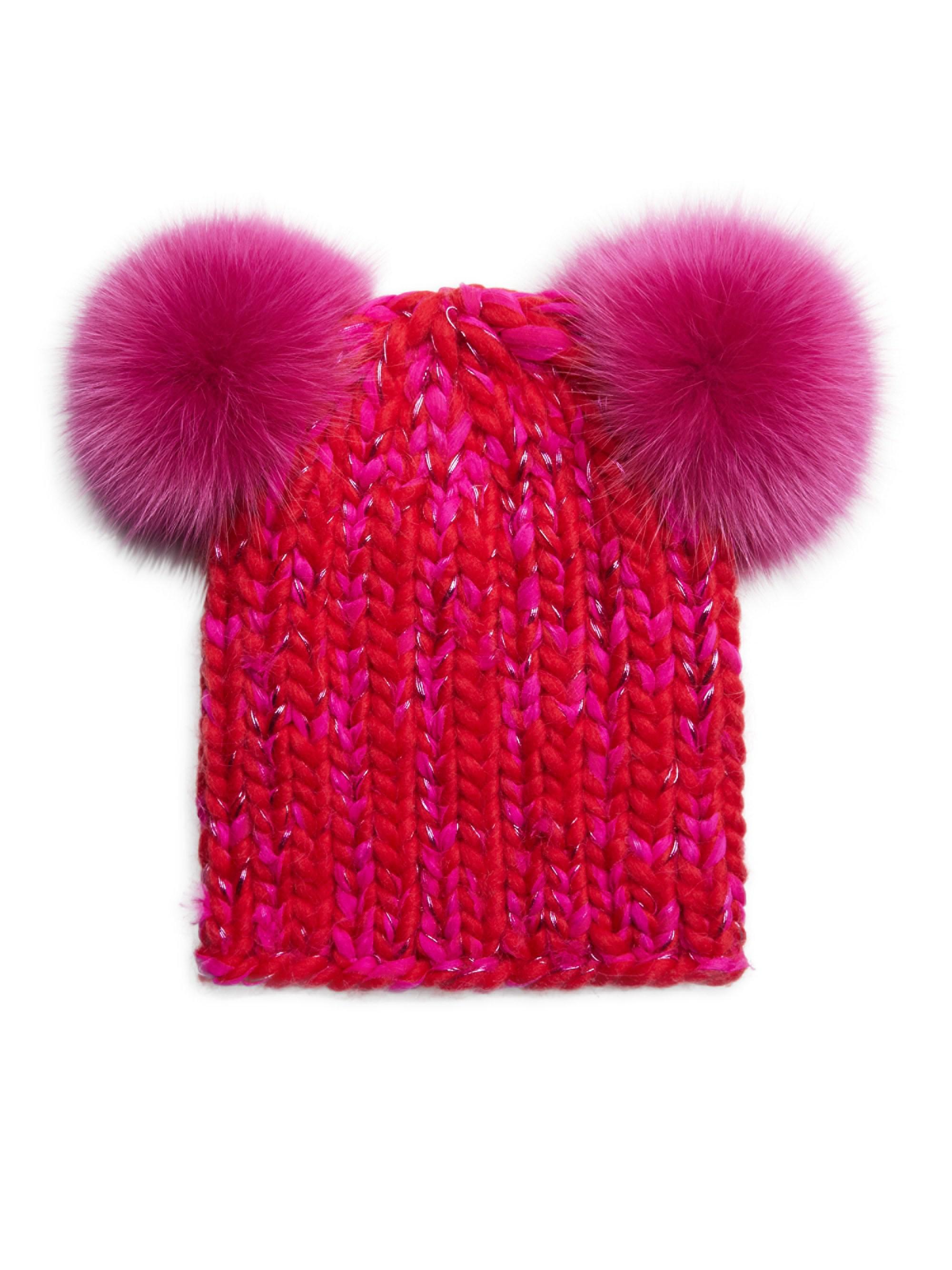 e9784b812c3 Lyst - Eugenia Kim Mimi Double Fox Fur Pom-pom Beanie in Red
