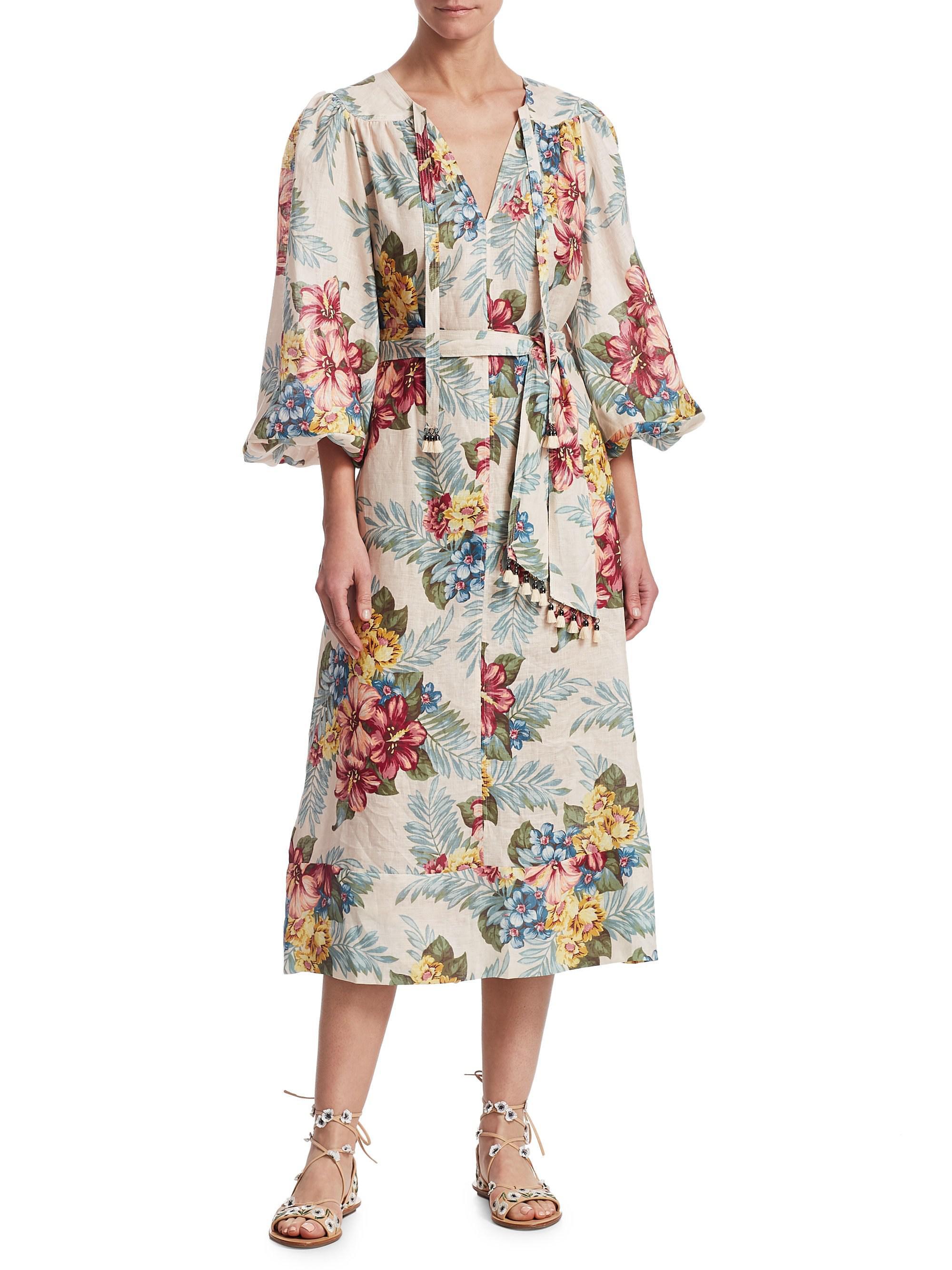 37d8796986 Lyst - Zimmermann Kali Floral-print Wrap Midi Dress