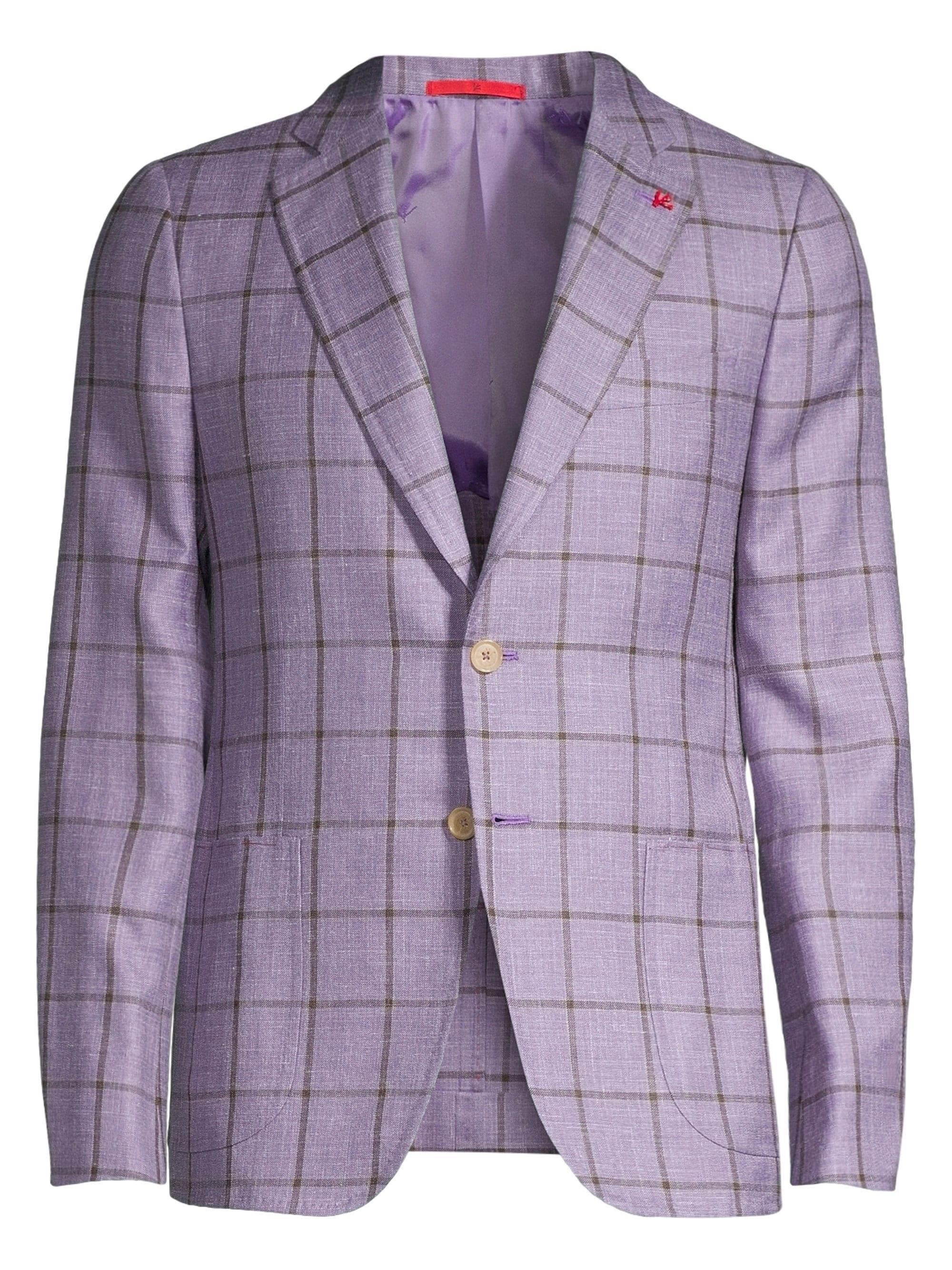 44789ee6 Lyst - Isaia Men's Summertime Windowpane Wool, Silk & Linen Single ...