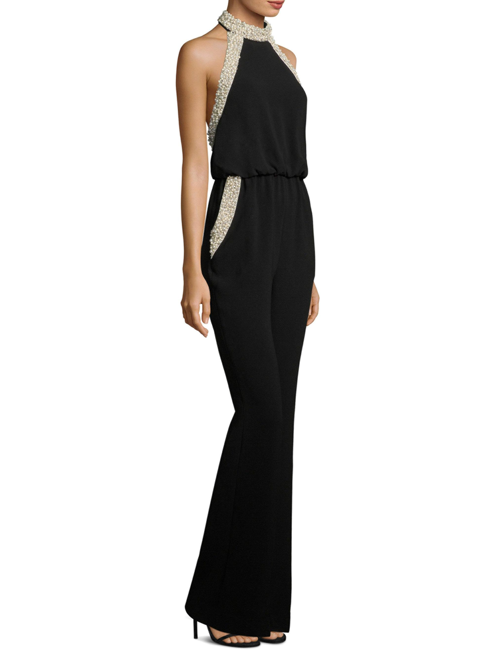d8c382a19205 Lyst - Rachel Zoe Elinor Pearl Collar Jumpsuit in Black