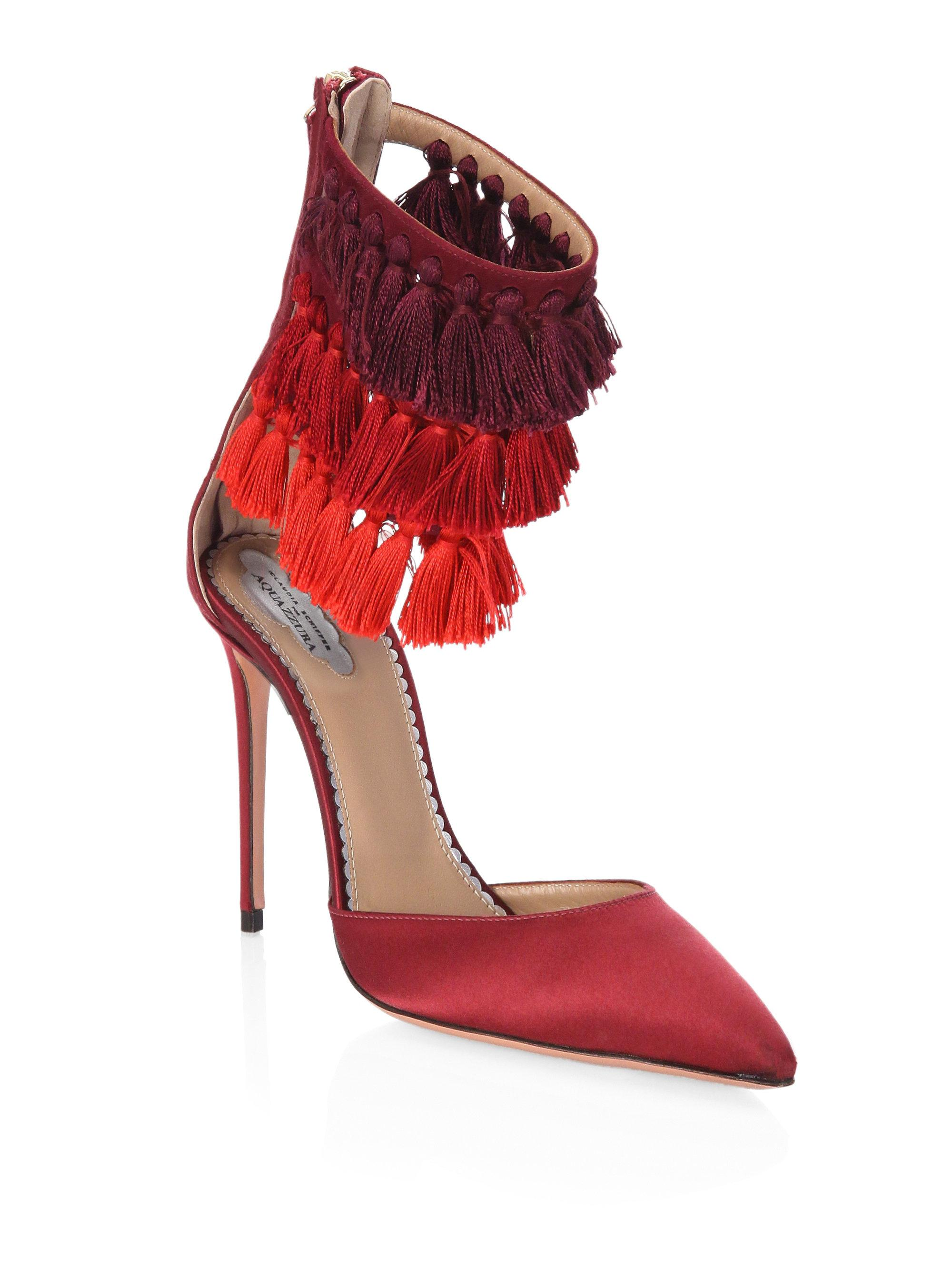 Aquazzura Claudia Schiffer for Lou Lou Tasseled Pumps 8MHNz