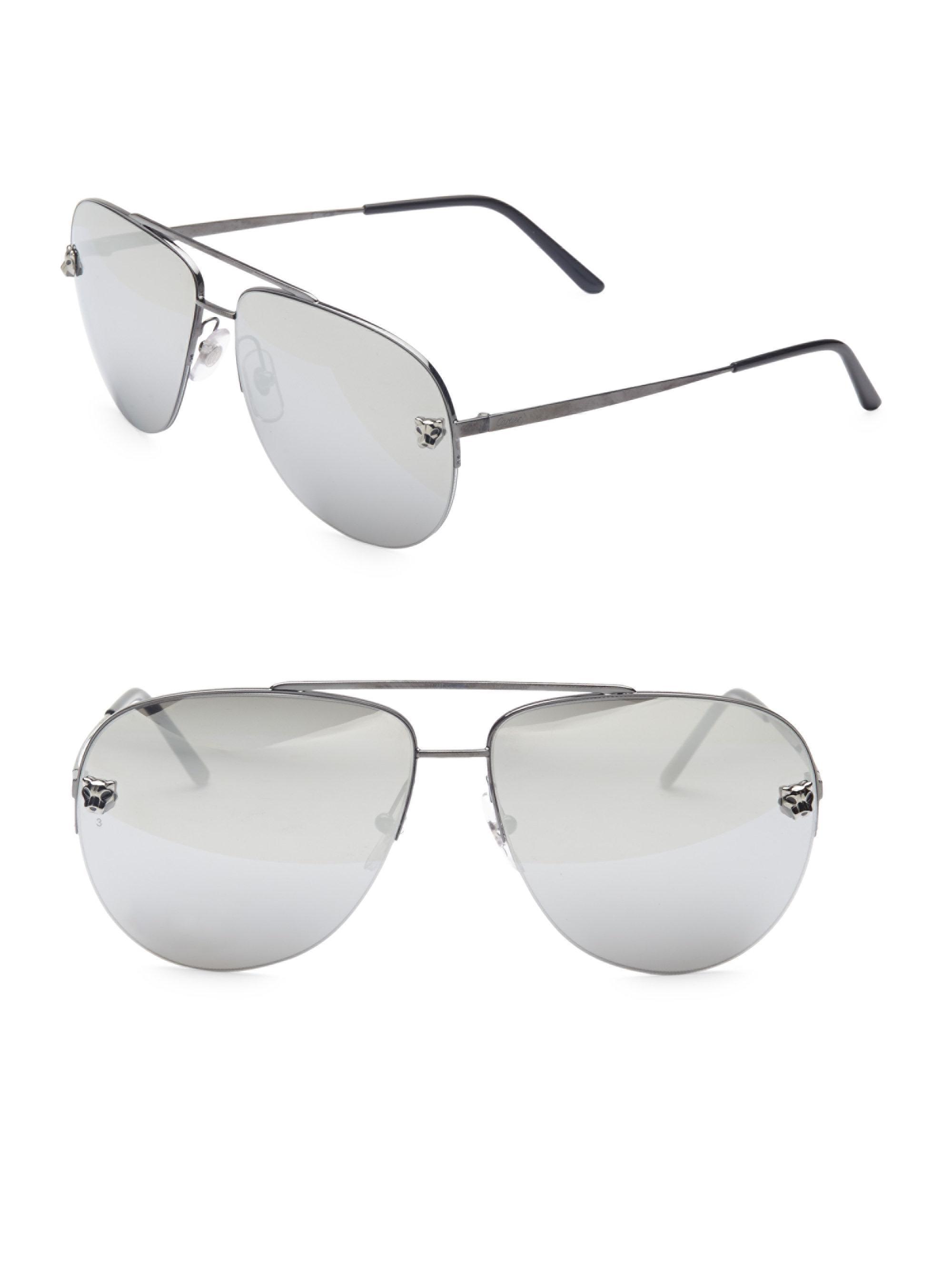 3c94b44272734 Cartier Women s Panthere Pilot Sunglasses - Black in Black - Lyst