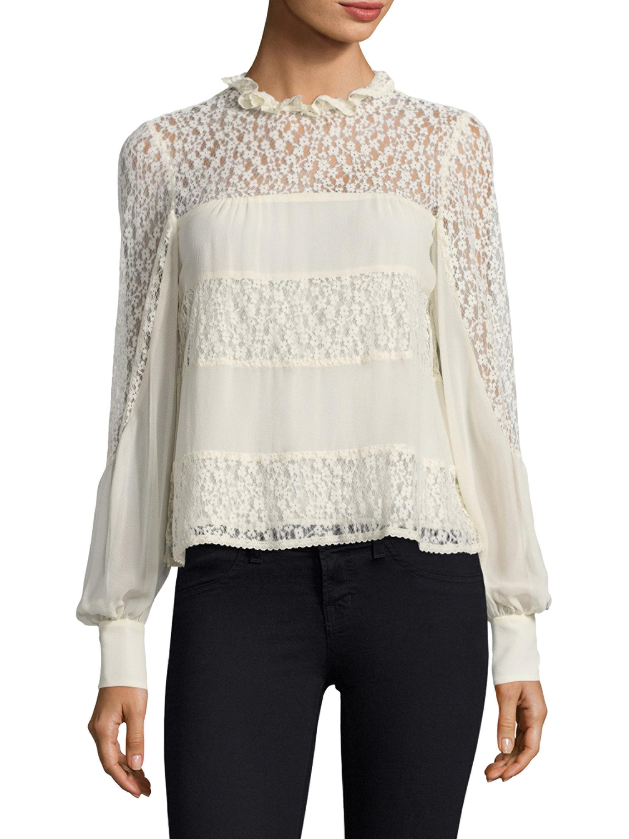 d516c1f9b226a Lyst - Nanette Lepore Jezebel Silk Blouse in White