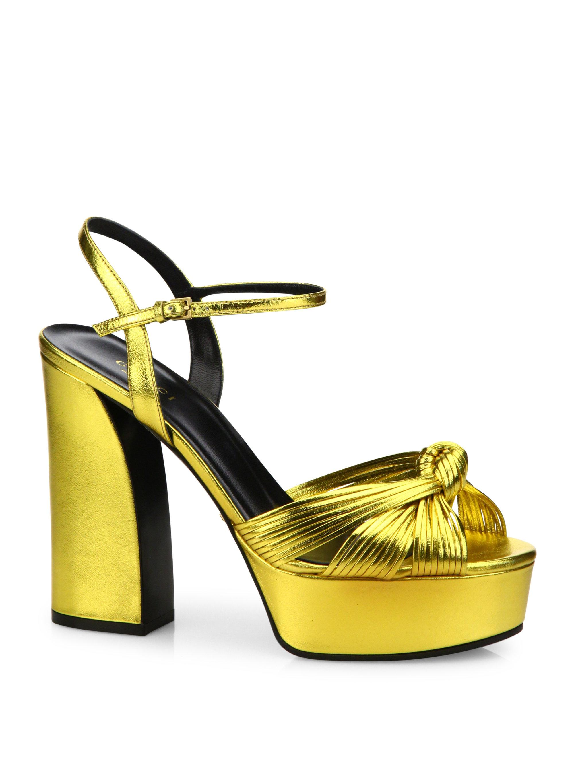 0e3556c538 Gucci Allie Knotted Metallic Leather Platform Sandals in Metallic - Lyst