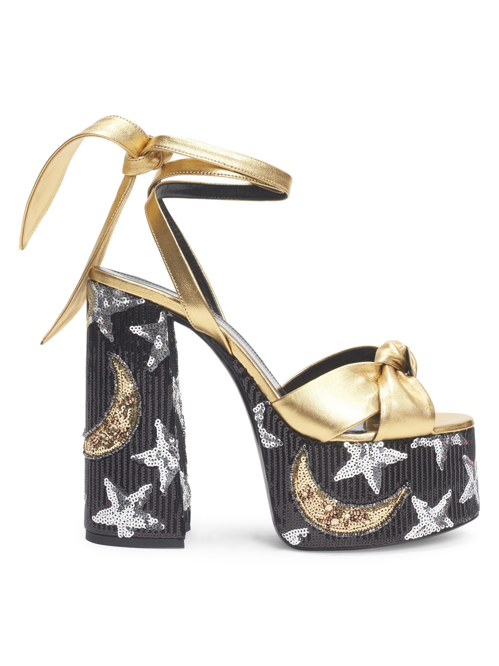 b31a3f7d628f Saint Laurent. Metallic Women s Paige Sequin Leather Platform Sandals - Gold