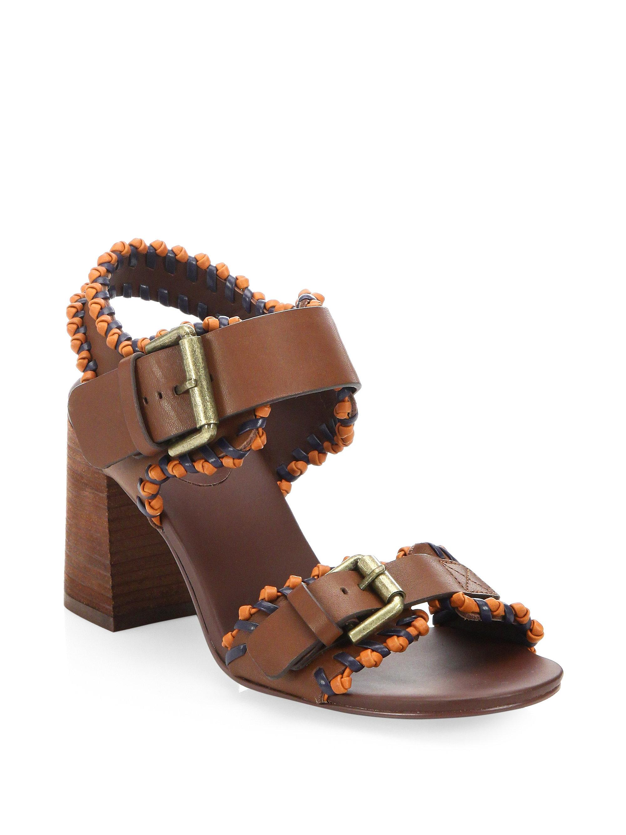 5d57694c387 Lyst - See By Chloé Romy City Leather Whipstitch Sandals in Brown