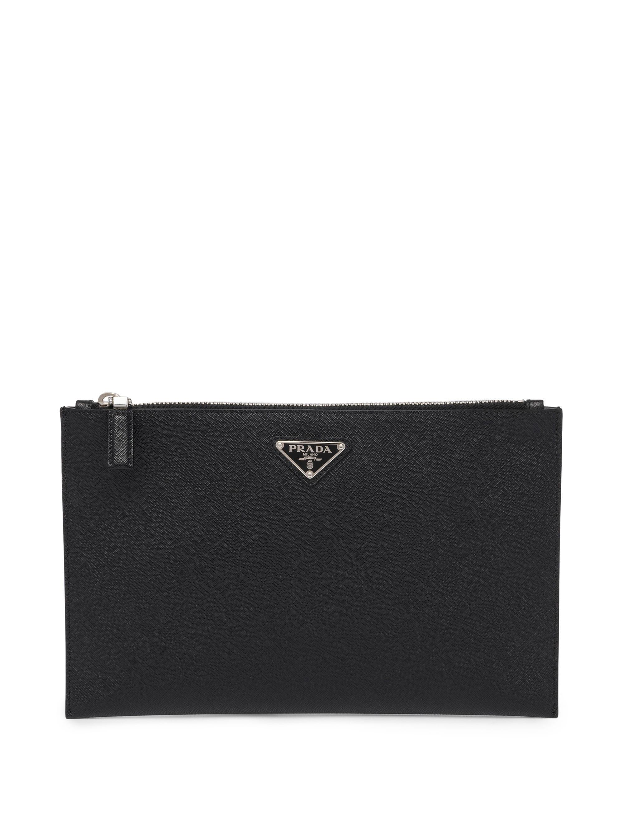806685fdfb08 Prada Saffiano Leather Pouch in Black for Men - Lyst