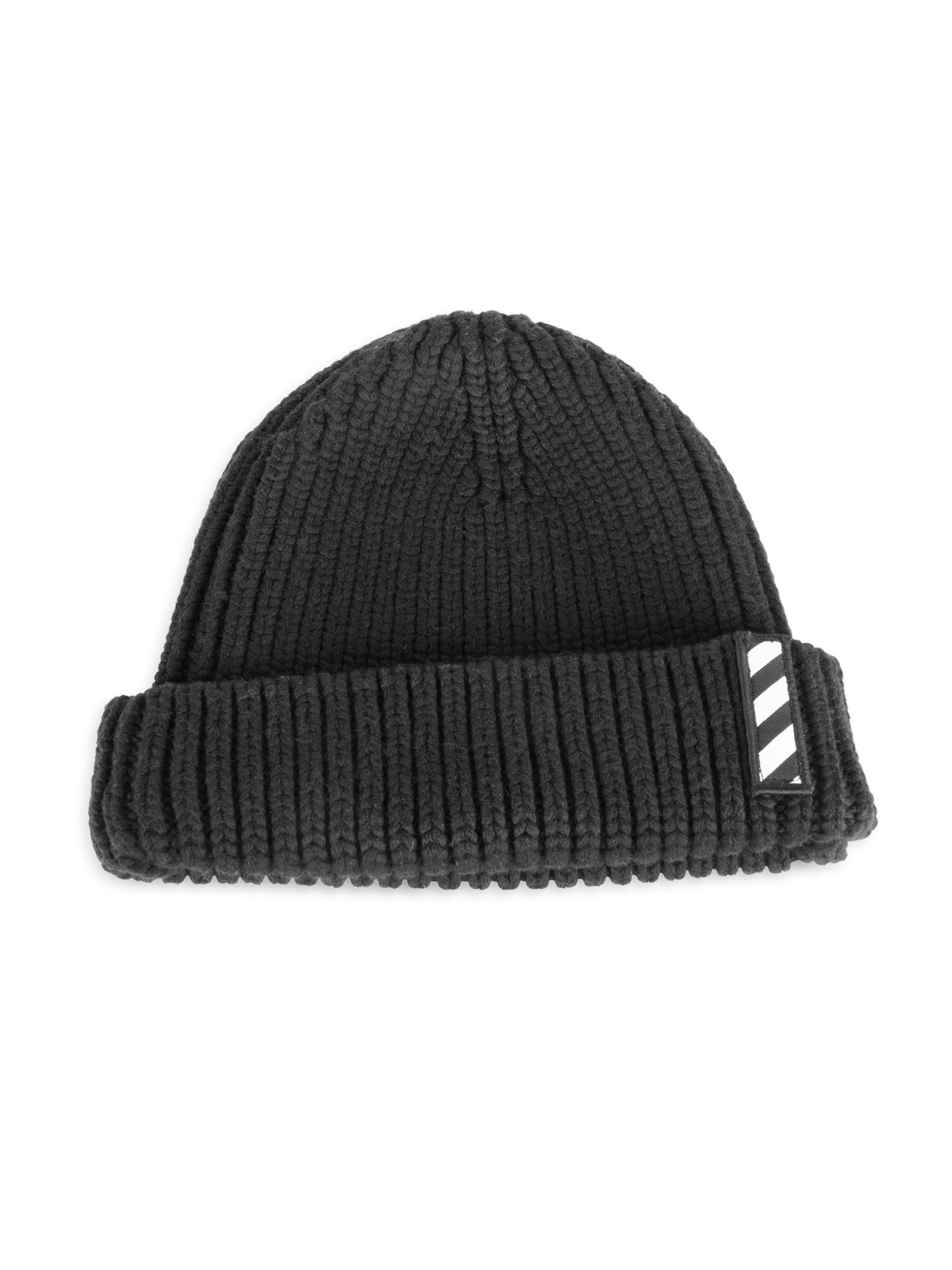 8a553704 Off-White c/o Virgil Abloh Logo Patch Wool Beanie in Black for Men ...
