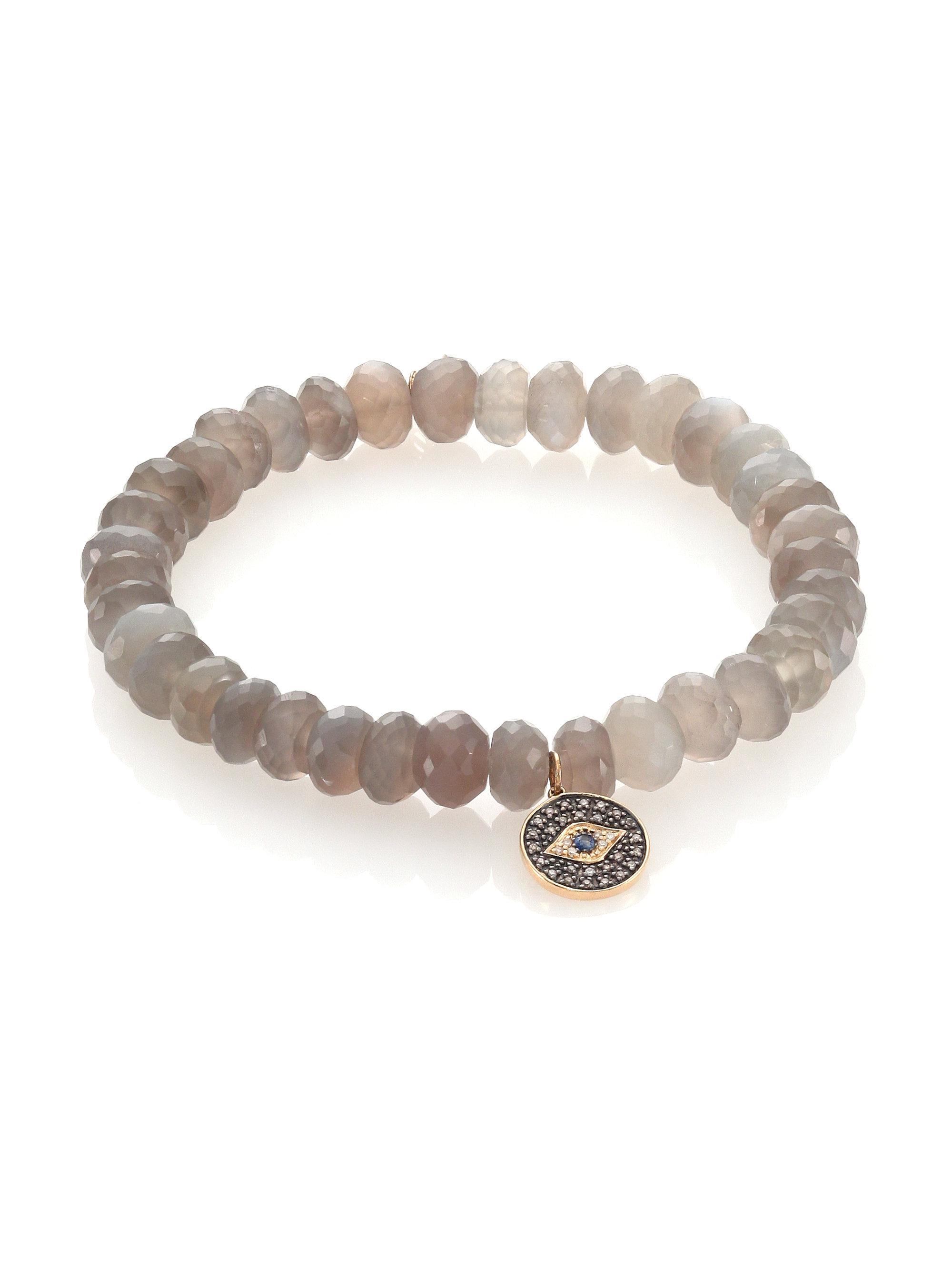 Sydney Evan Mauve Moonstone Bead Bracelet w/ 14k XO Charm rJTME