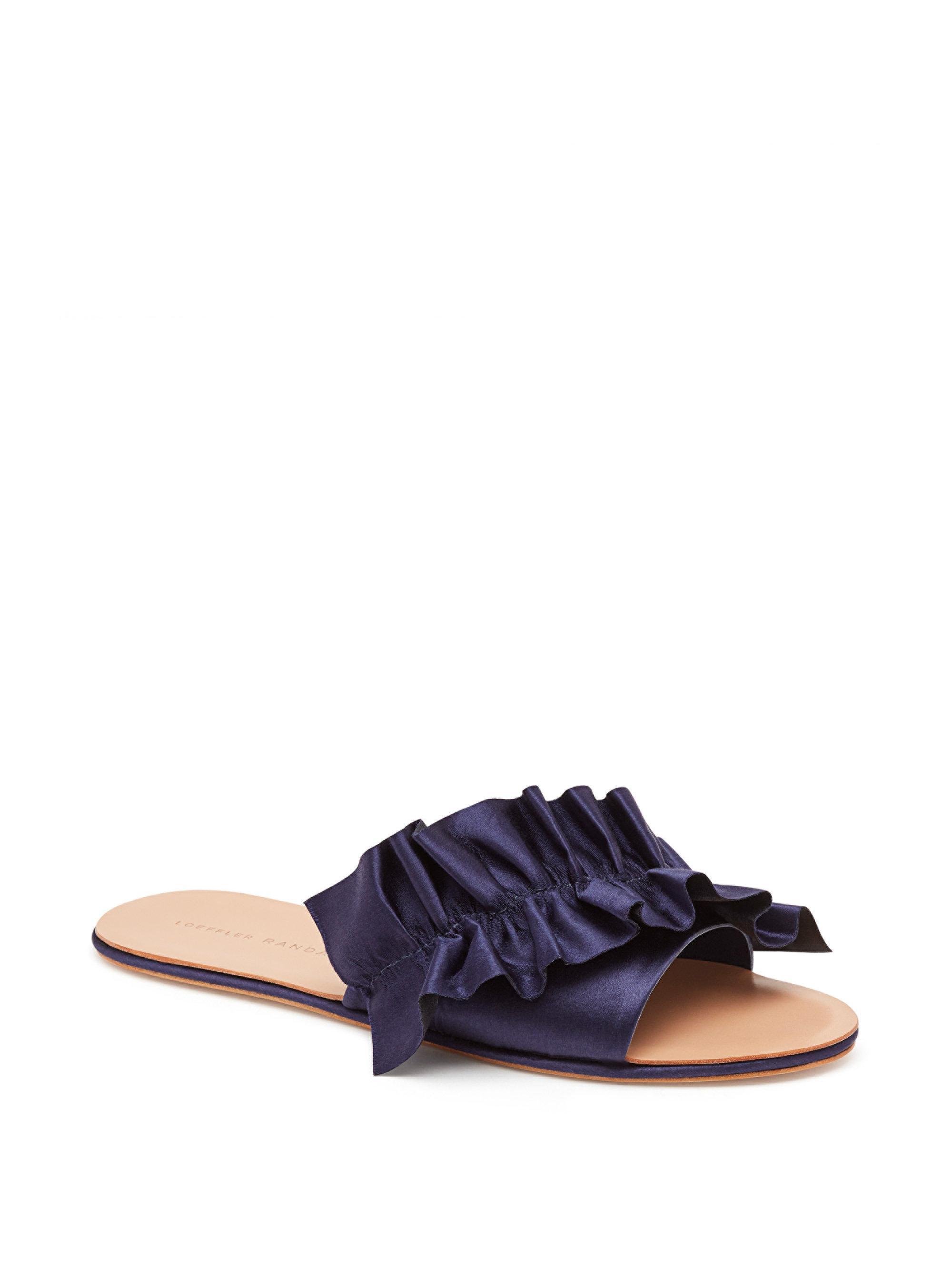 Loeffler Randall Rey Satin Ruffle Flat Sandal BhvaYgE