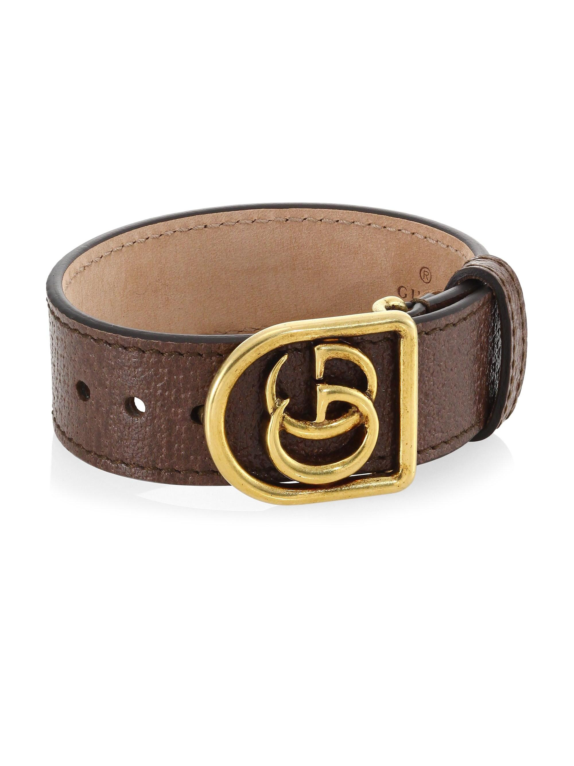 93aa47ba4c4 Lyst - Gucci Marmont Double G Leather Bracelet in Brown for Men