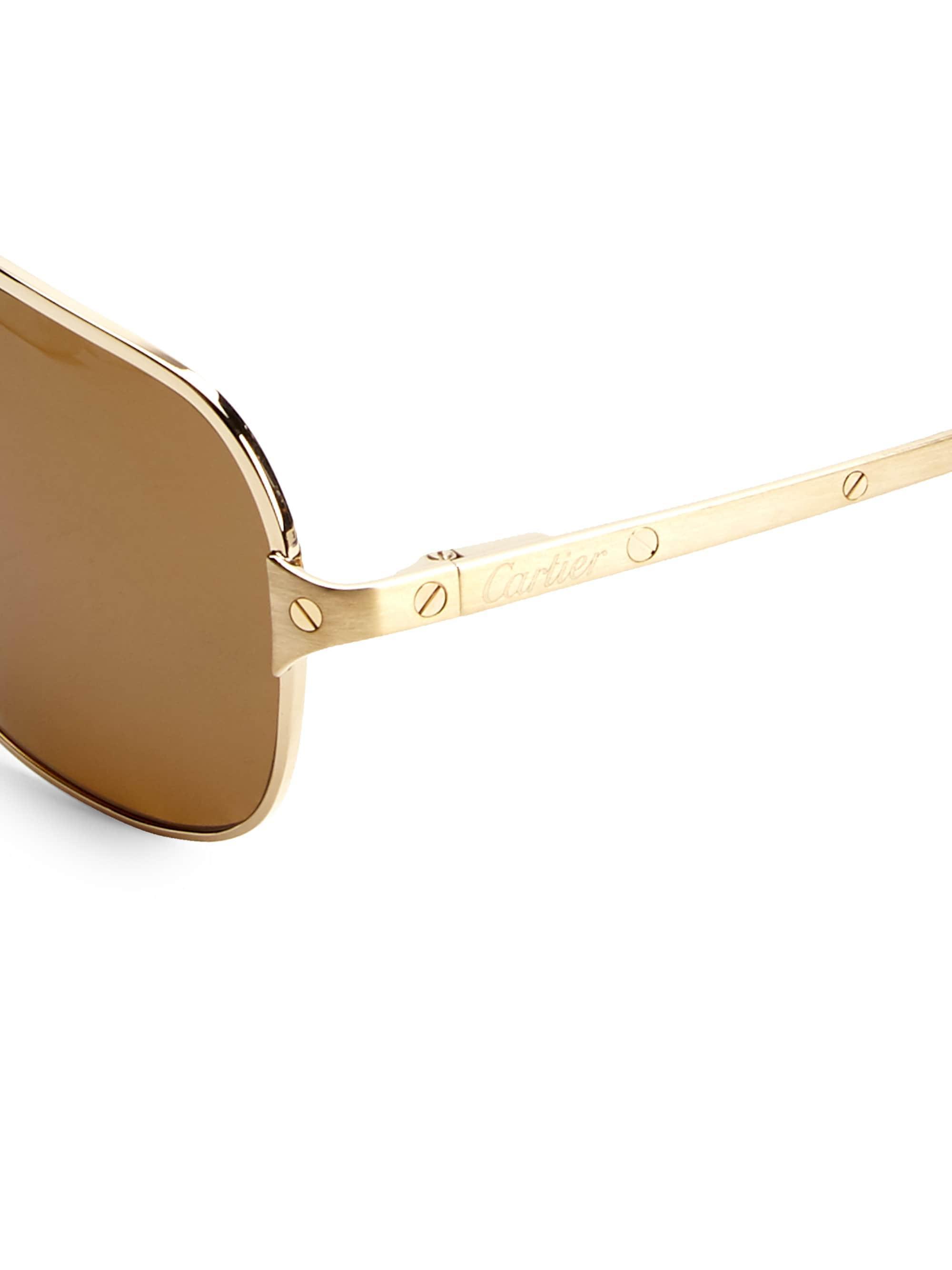 8255c88a217b Lyst - Cartier Women s 60mm Aviator Sunglasses - Gold in Metallic