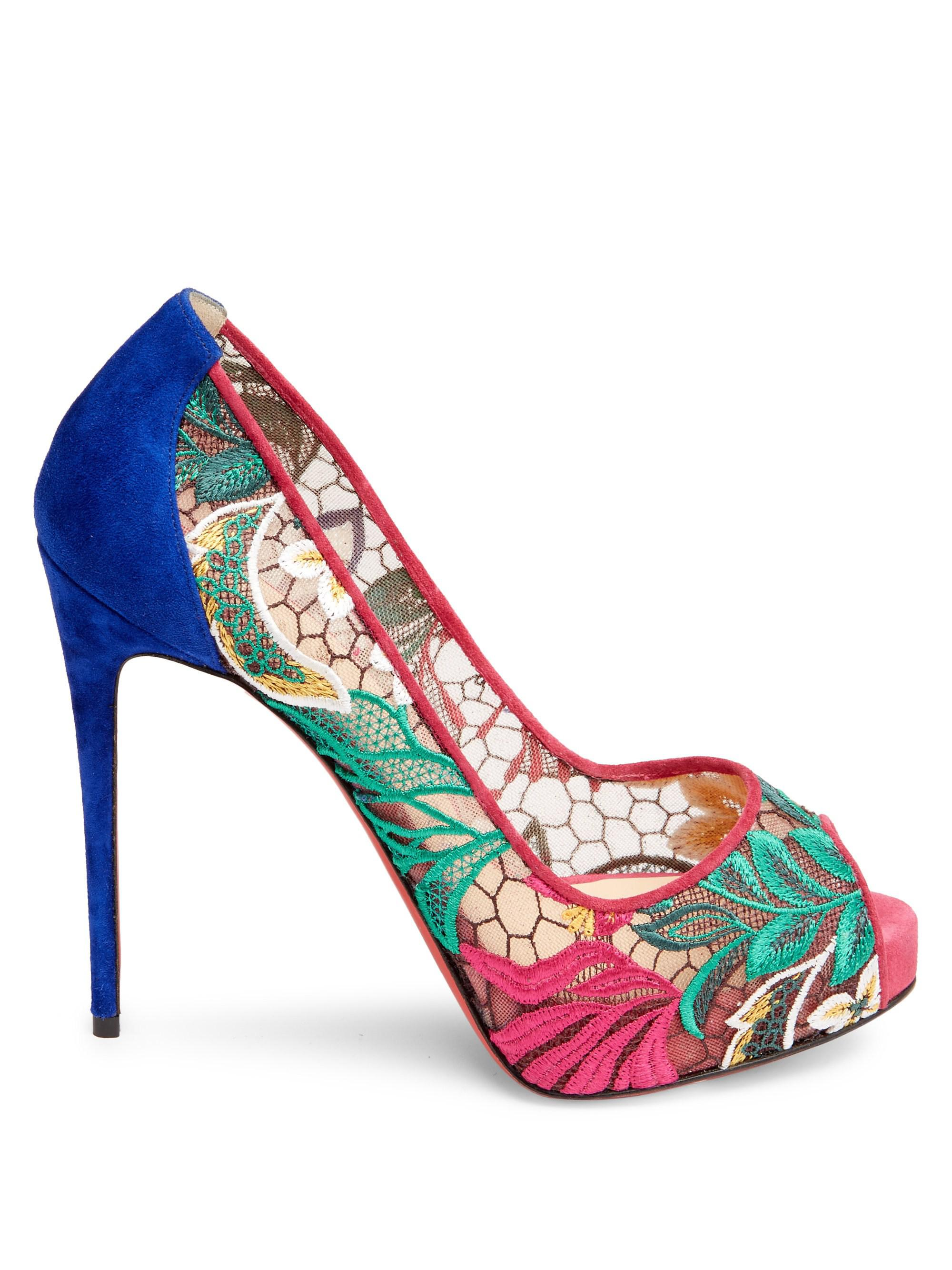 f2986be3705 Lyst - Christian Louboutin Very Lace 120 Floral Platform Pump