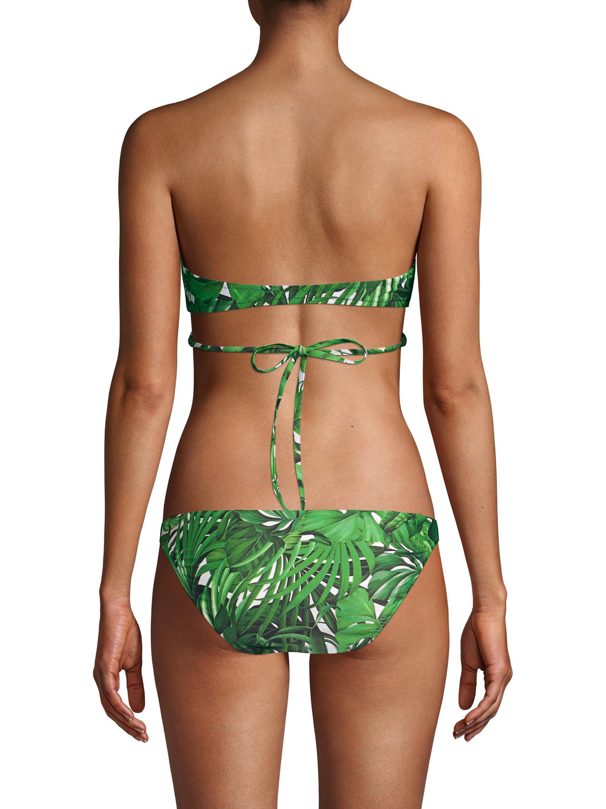 890ef97a8455b MILLY - Green Tropical Print Wrap Halter Bikini Top - Lyst. View fullscreen