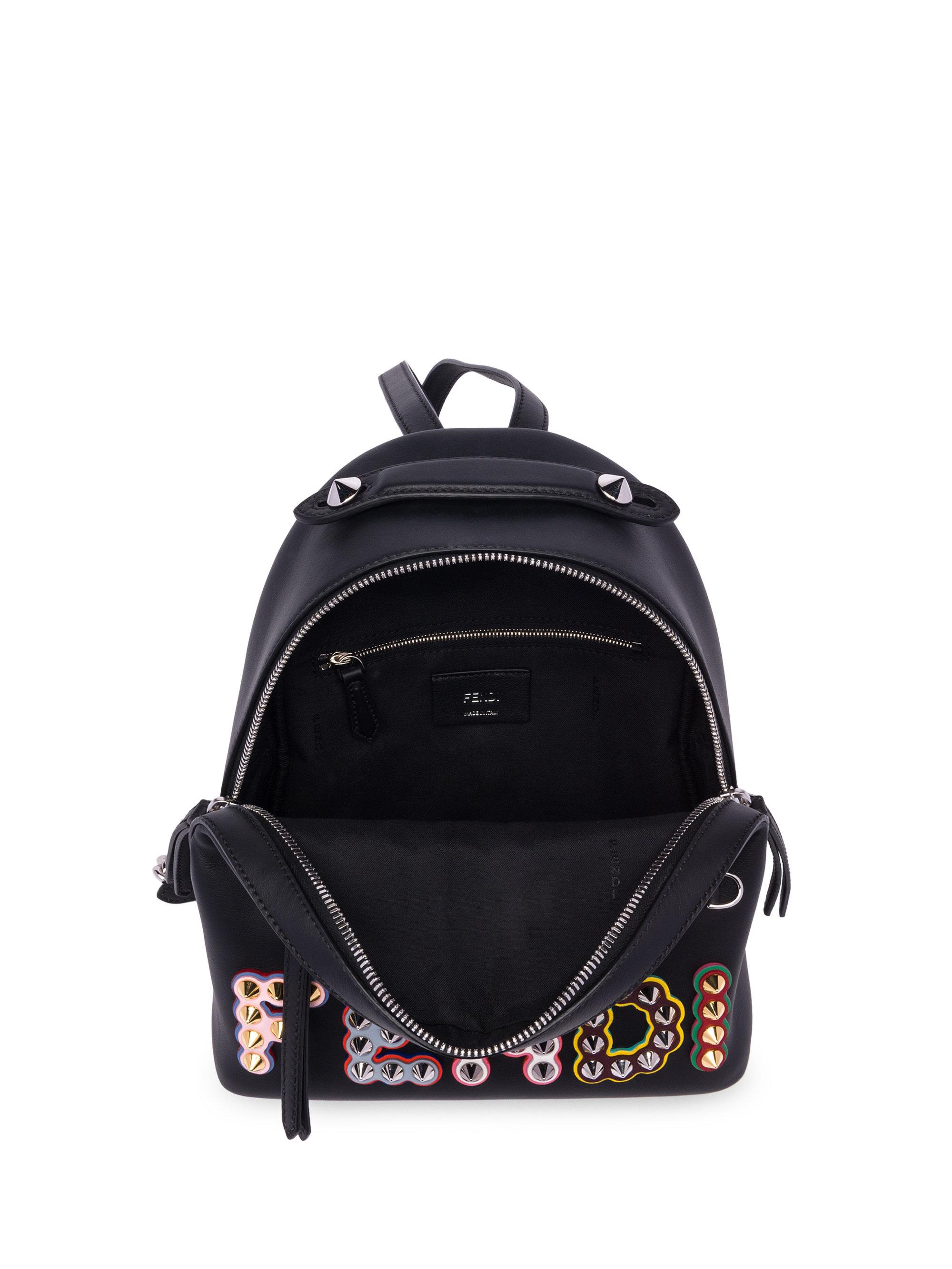 adf4e8db1f Lyst - Fendi Nero Studded Logo Leather Backpack in Black