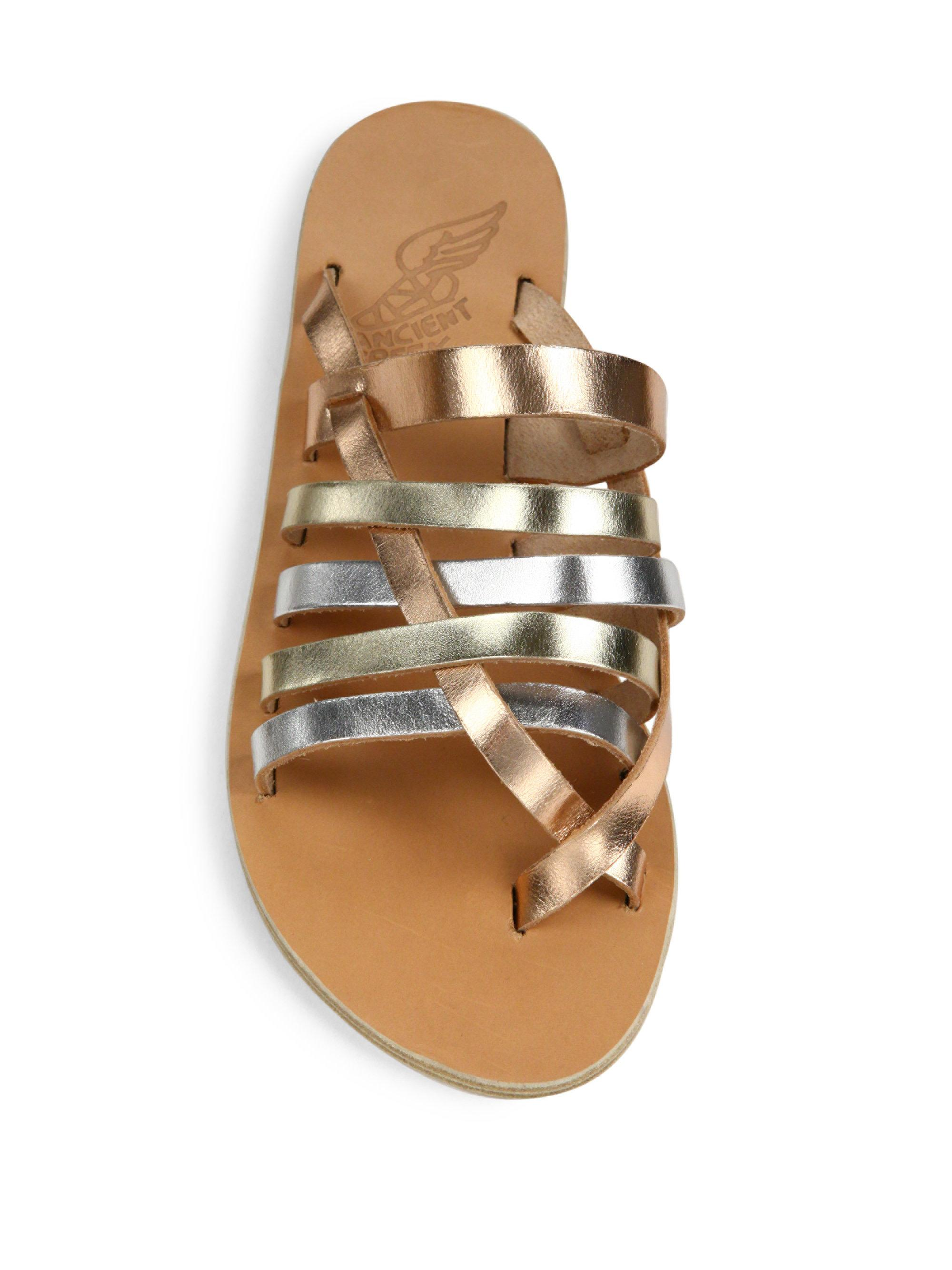 c774a176eb58 Ancient Greek Sandals Gaia Metallic Vachetta Leather Slide Sandals ...